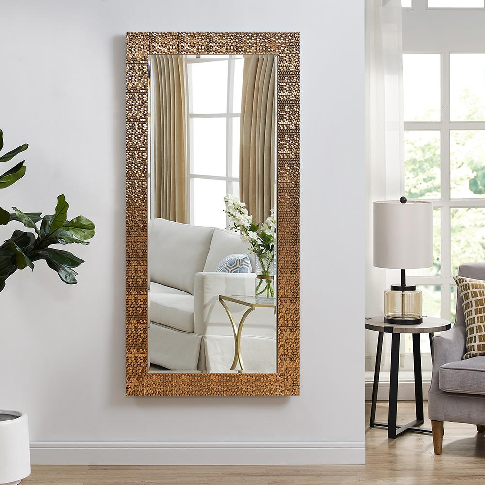 Naomi Home Mosaic Style Full Length Floor Mirror, Copper