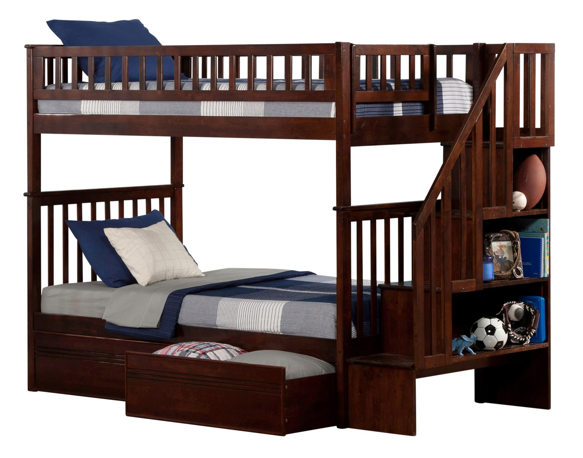 Woodland Staircase Bunk Bed Twin Over Twin With Flat Panel Bed
