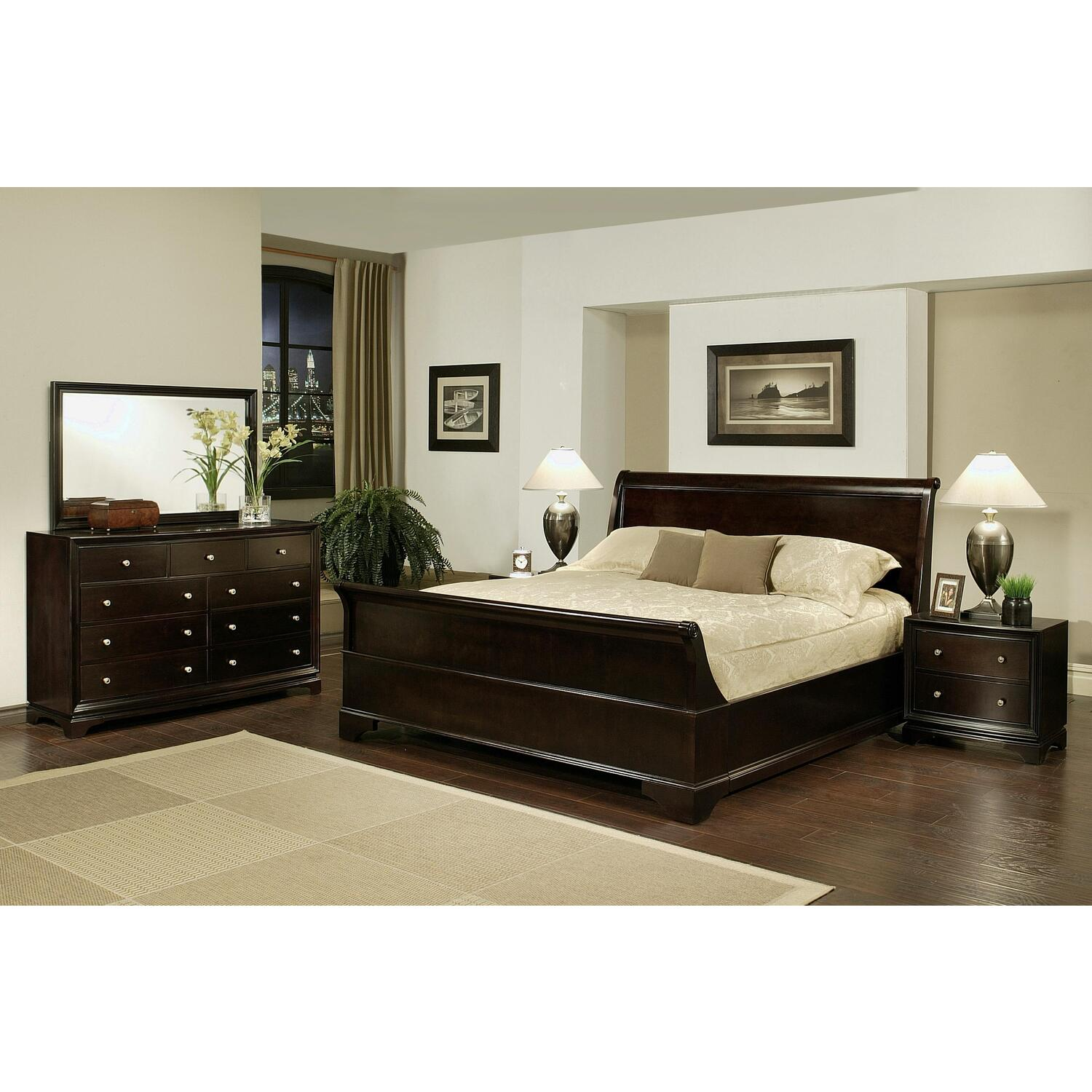 5 Piece Sleigh Queen Size Bedroom Set Ojcommerce