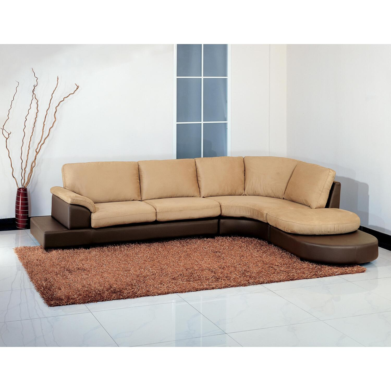 Mocha Microsuede Sectional Sofa With Ottoman Ojcommerce