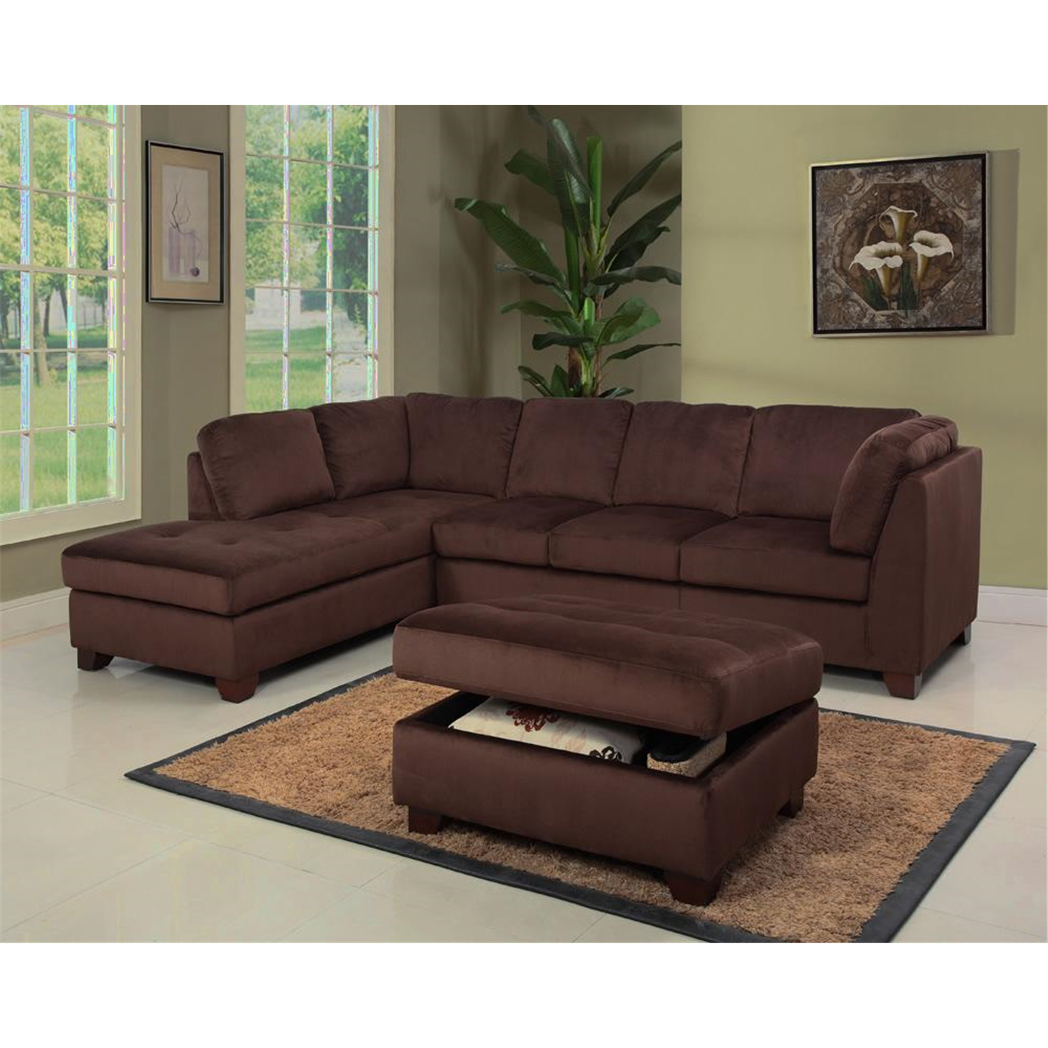 Microsuede sectional sofa and storage ottoman set ojcommerce for Microsuede living room furniture