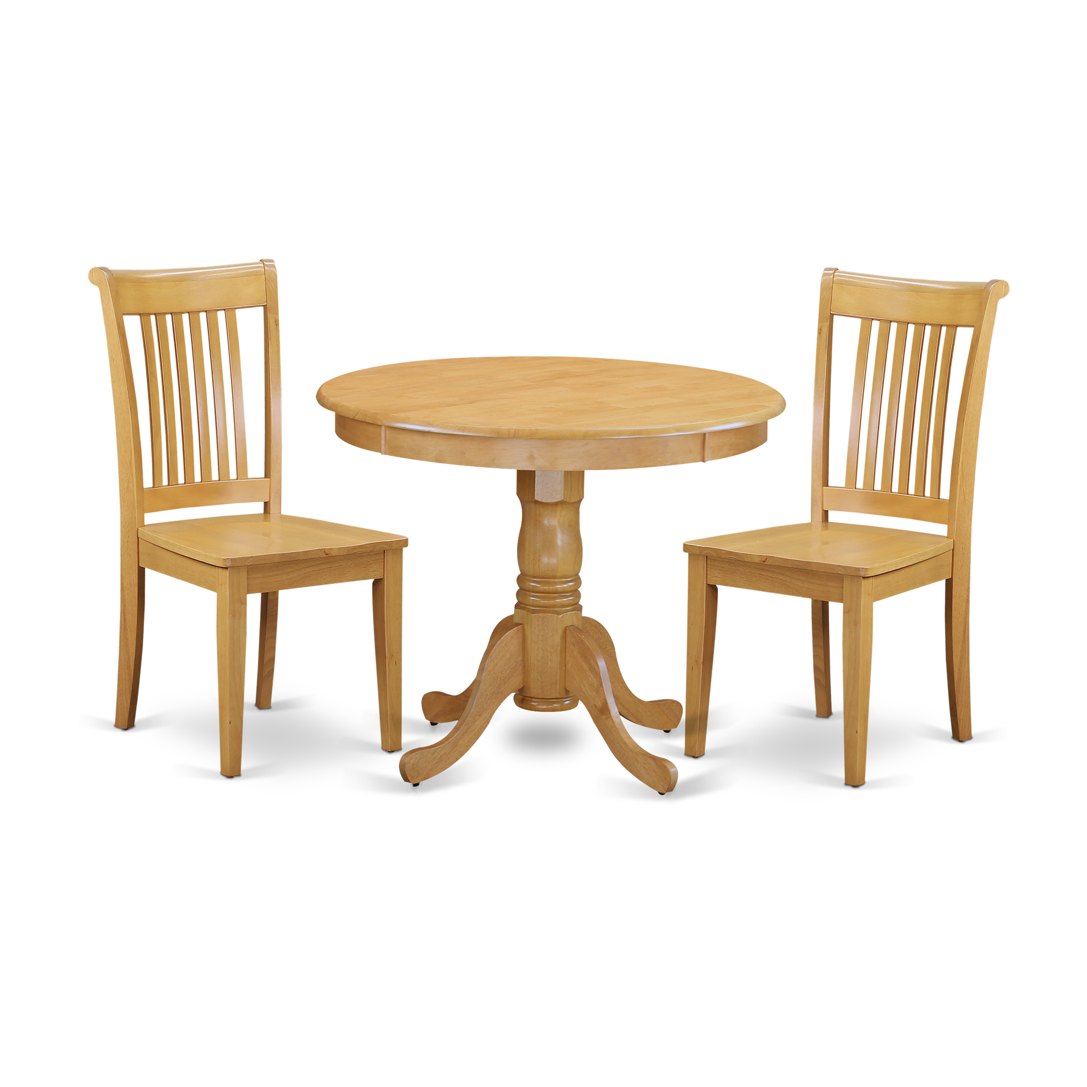 Oak Kitchen Table Chairs: East West Furniture ANPO3-OAK-W 3 Pc Kitchen Table Set