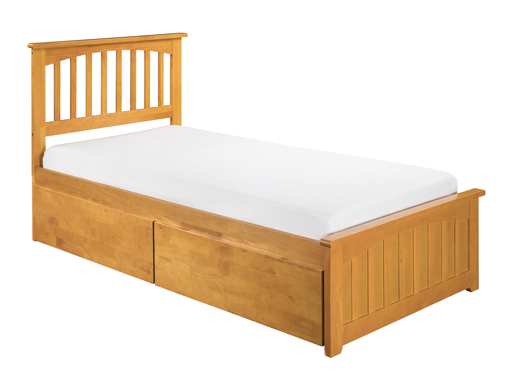 Mission Twin Xl Platform Bed With Matching Foot Board 2 Urban Drawers In Caramel