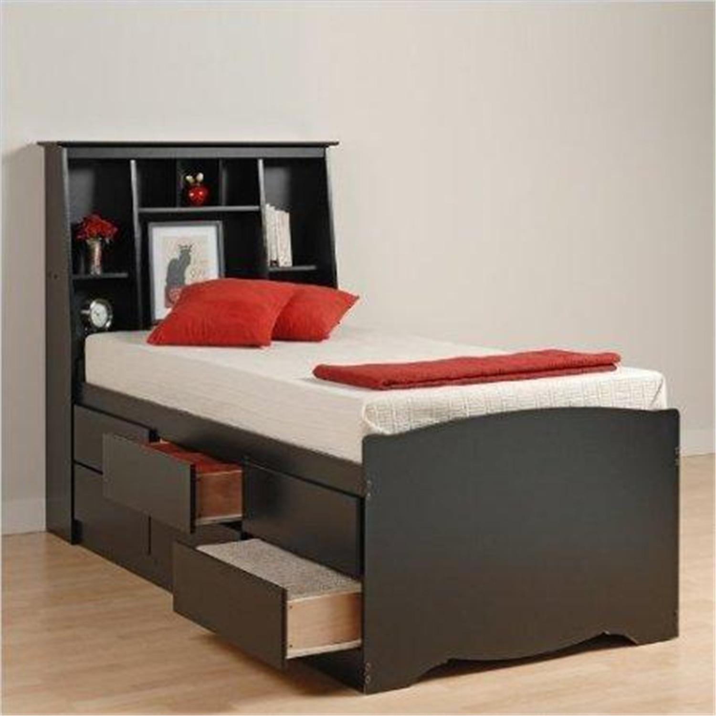 black sonoma tall twin bookcase platform storage bed - Twin Storage Bed Frame