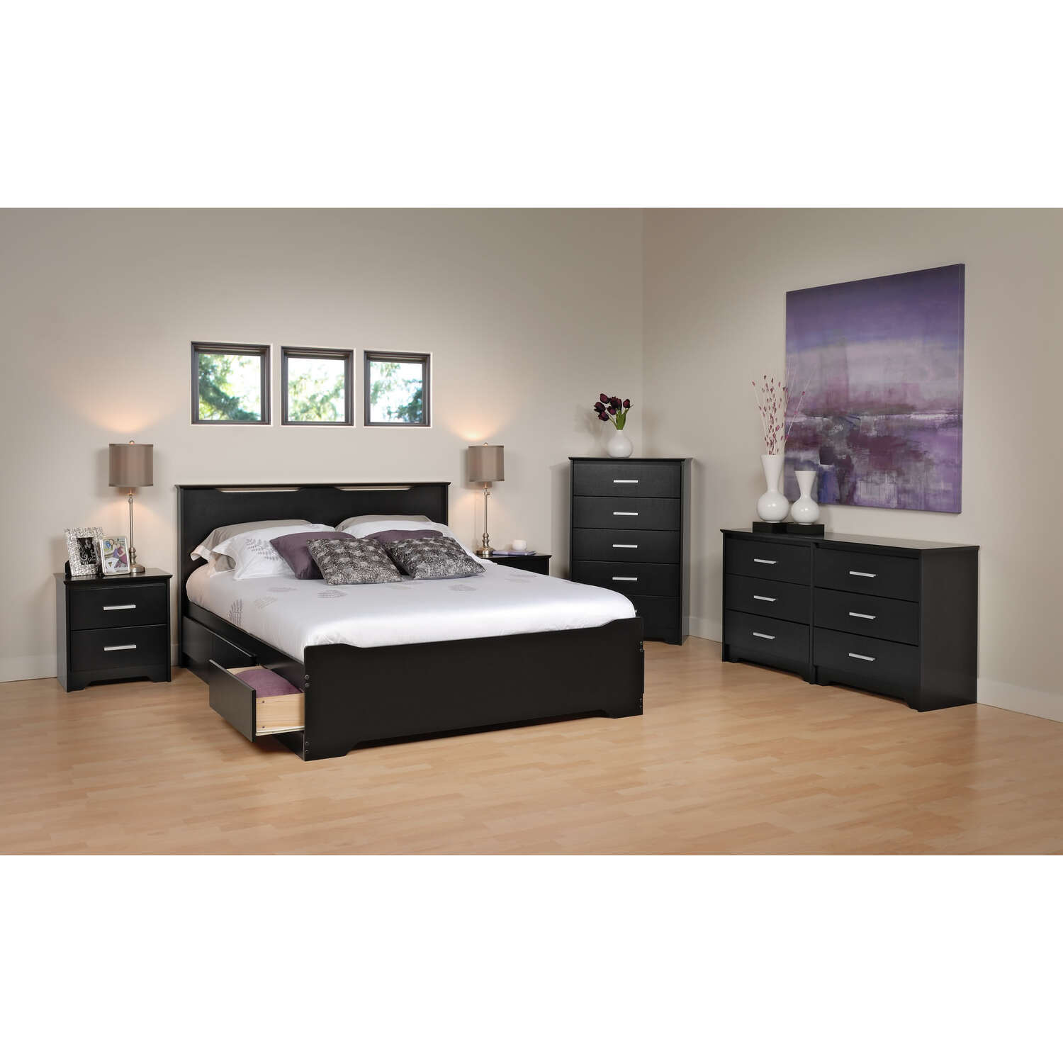 Prepac coal harbor full 6 piece bedroom set by oj commerce for Bedroom 6 piece set