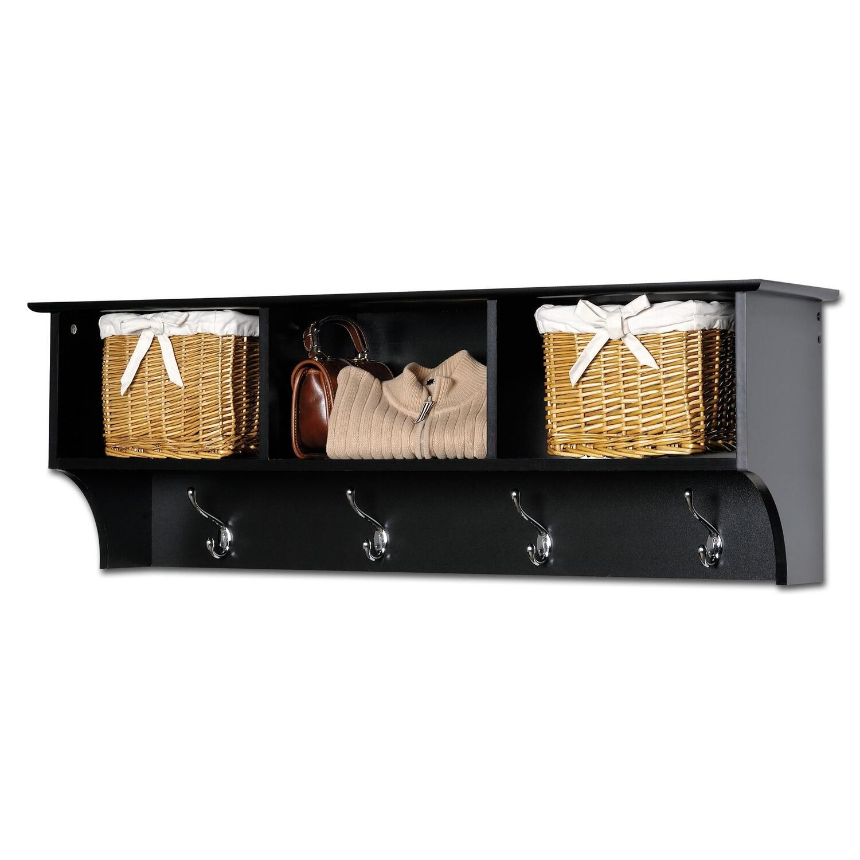 Sonoma Black Cubbie Bench And Wall Coat Rack Set Ojcommerce