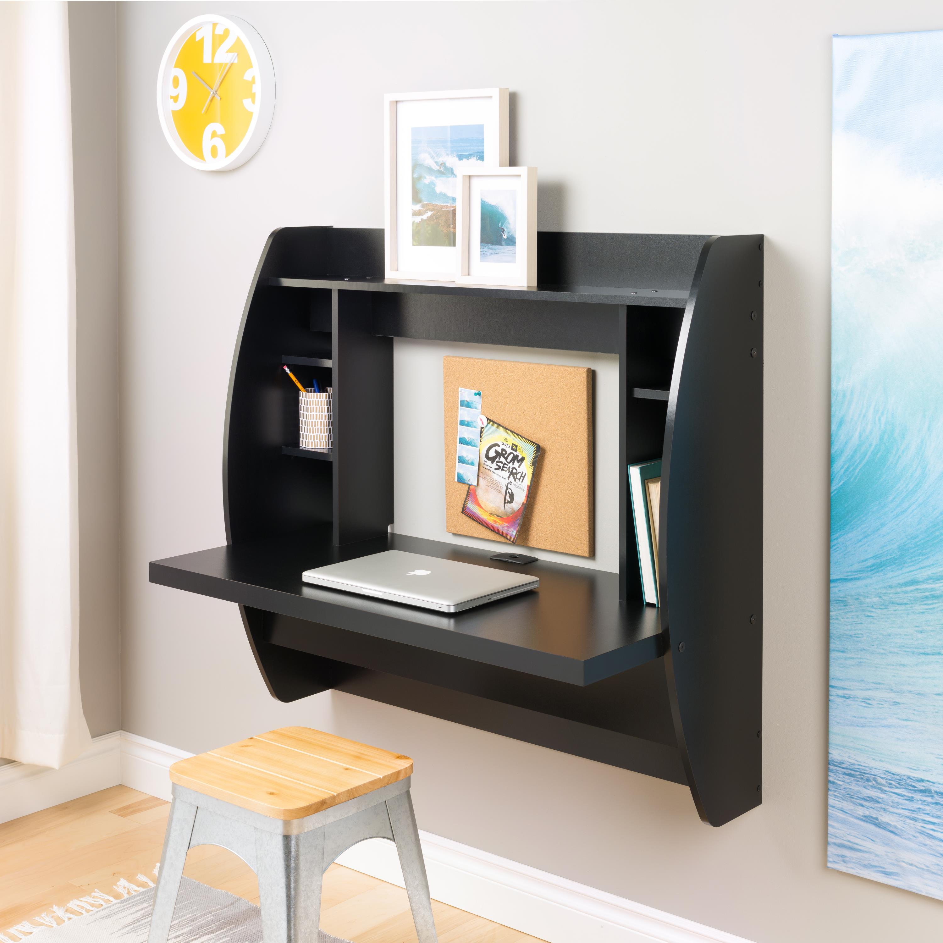 Prepac wall mounted floating desk with storage in black (pre.