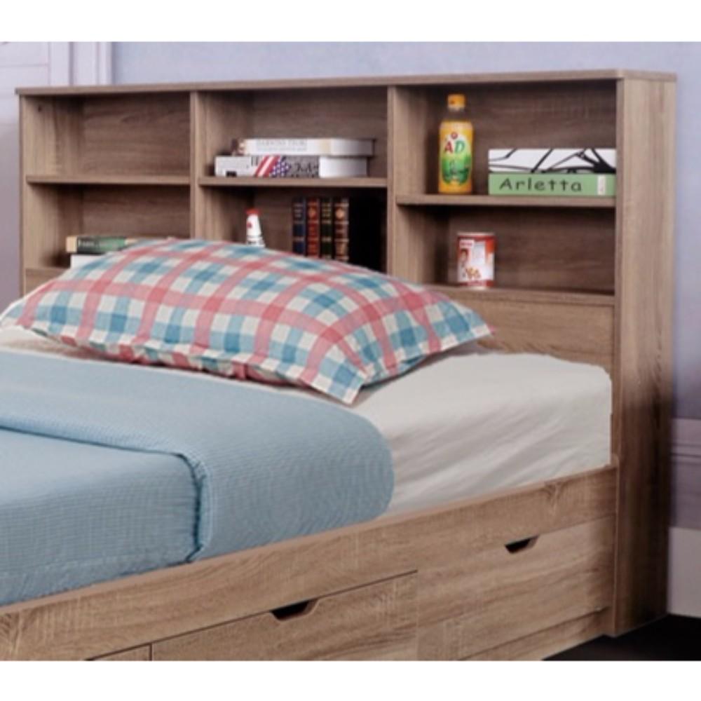 Bm141884 Elegant Full Size Bookcase Headboard With 6 Shelves Brown