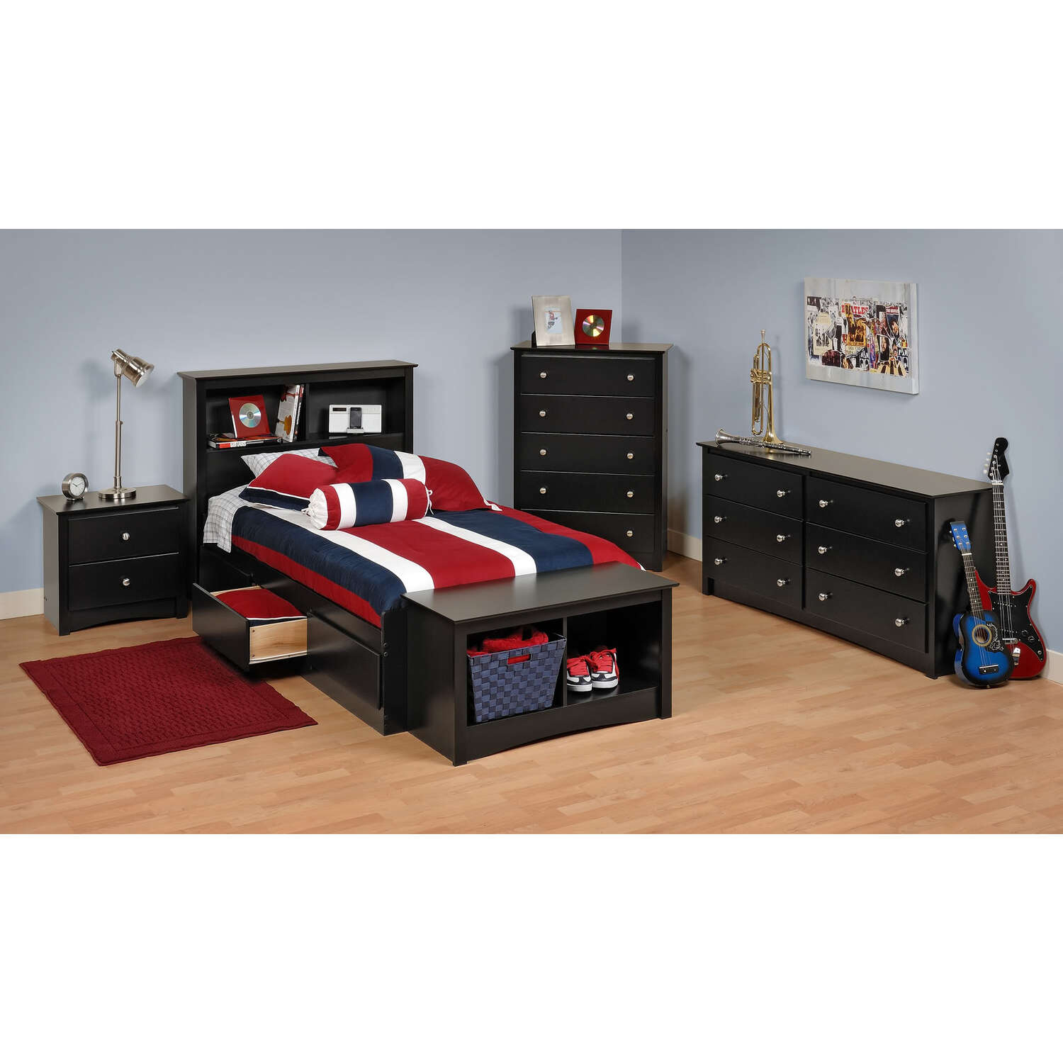 prepac bstb5pc black sonoma twin bedroom set
