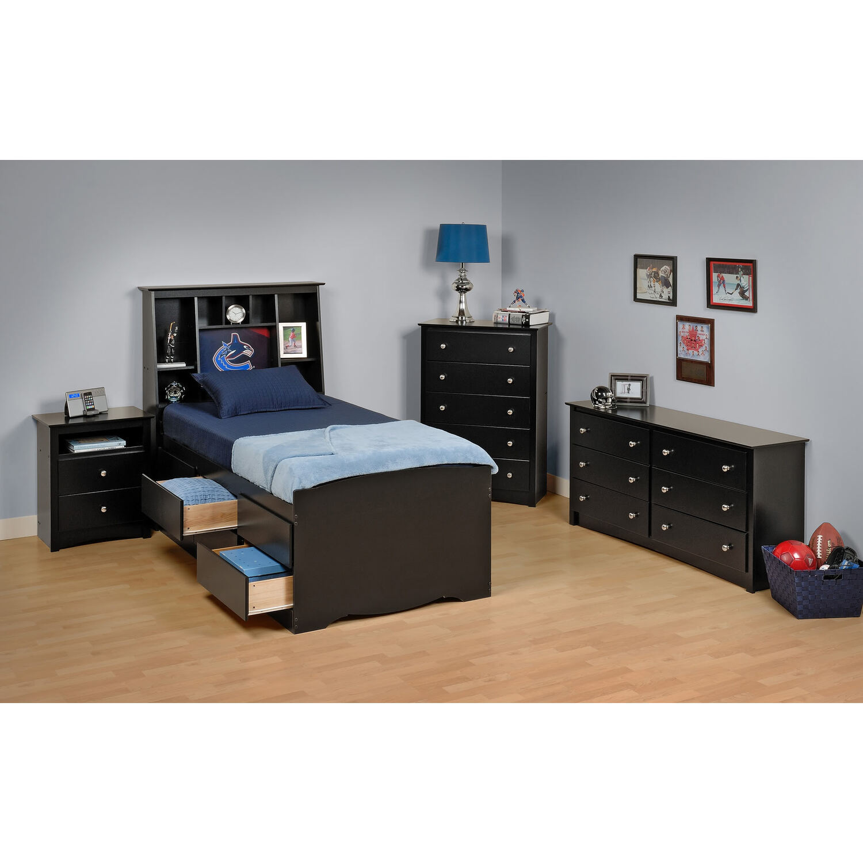Prepac Black Sonoma Twin Bedroom Set by OJ Commerce BSTB5PC ...