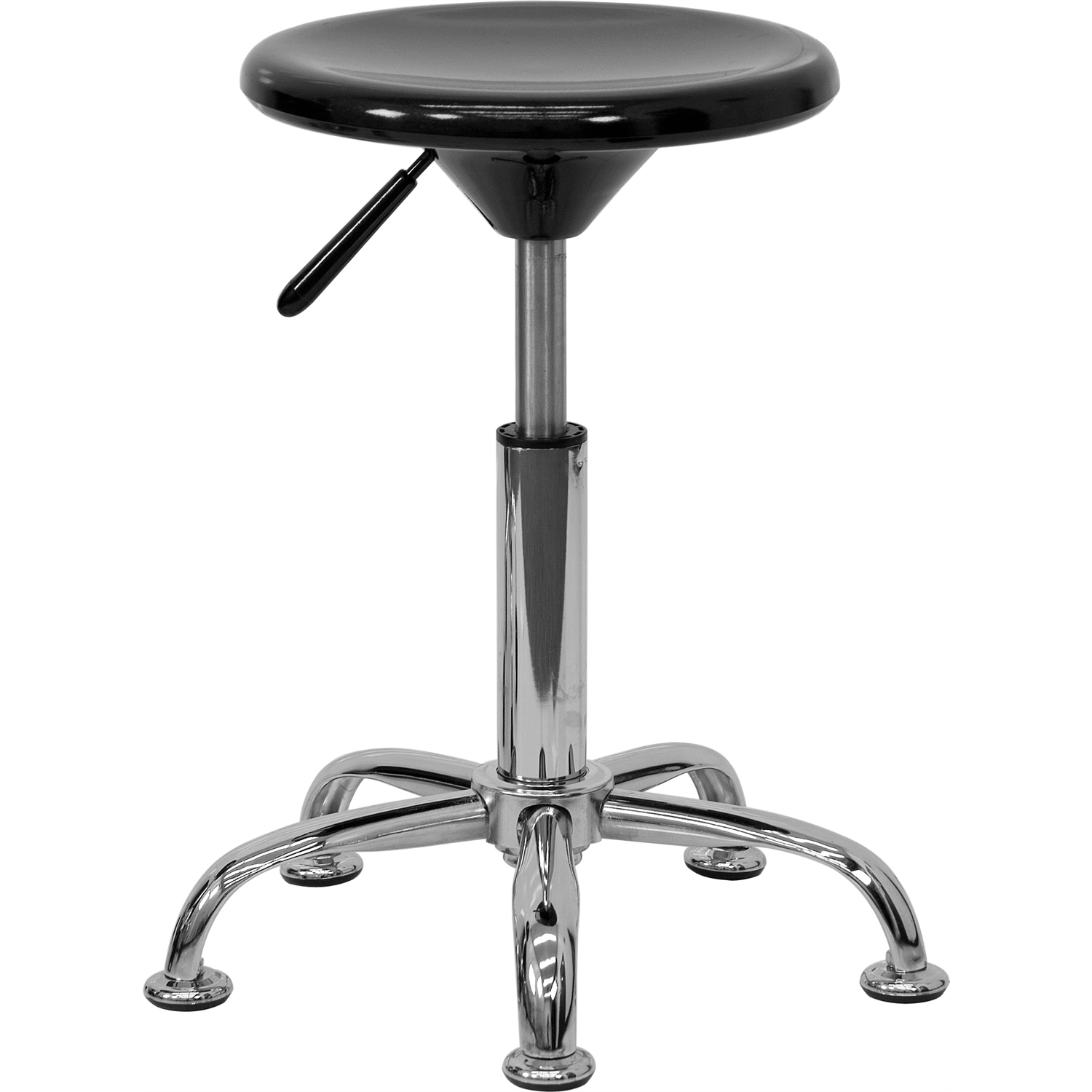 Black Plastic Adjustable Stool With Heavy Duty Polished
