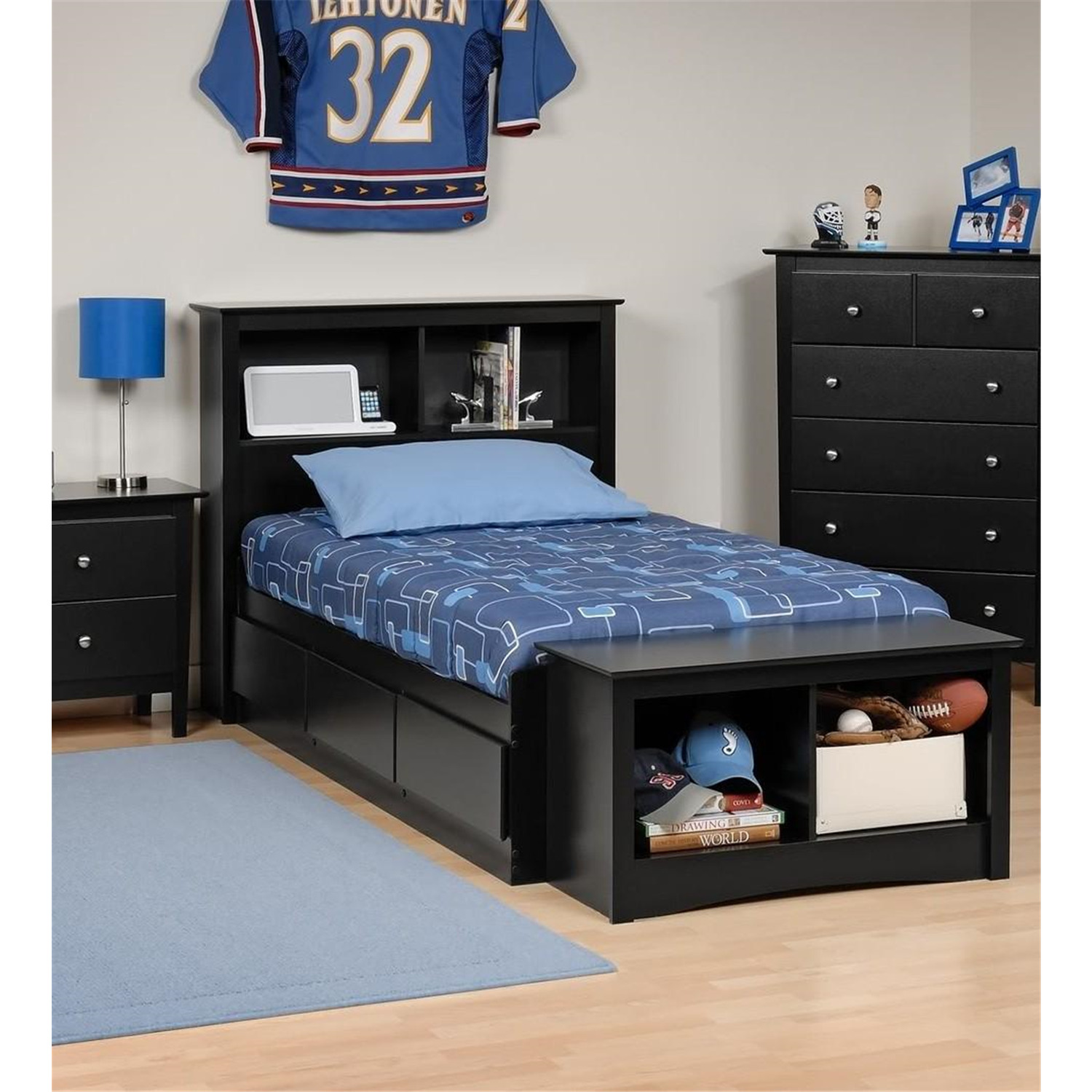 Prepac Platform Storage Bed w Bookcase Headboard Black Twin