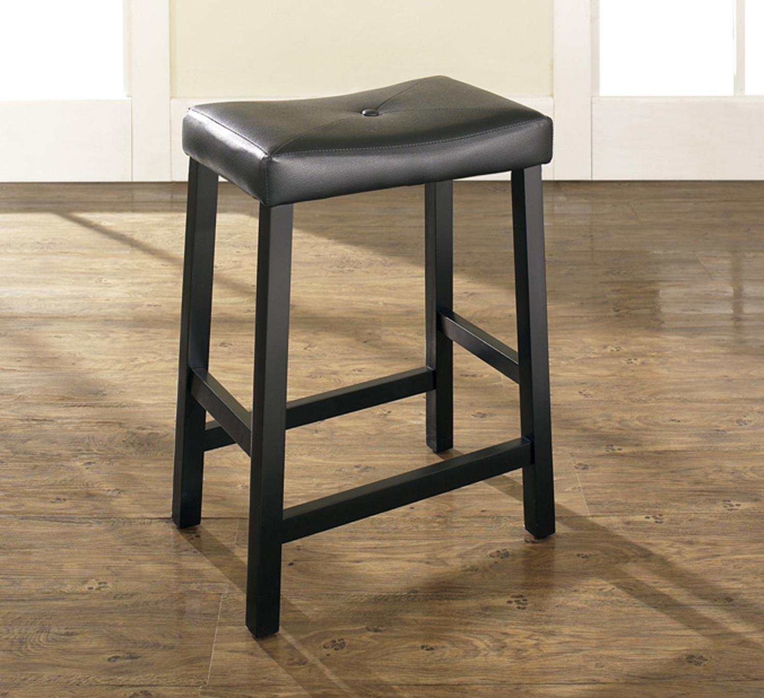 Crosley Upholstered Saddle Seat Bar Stool Cf500224 Bk