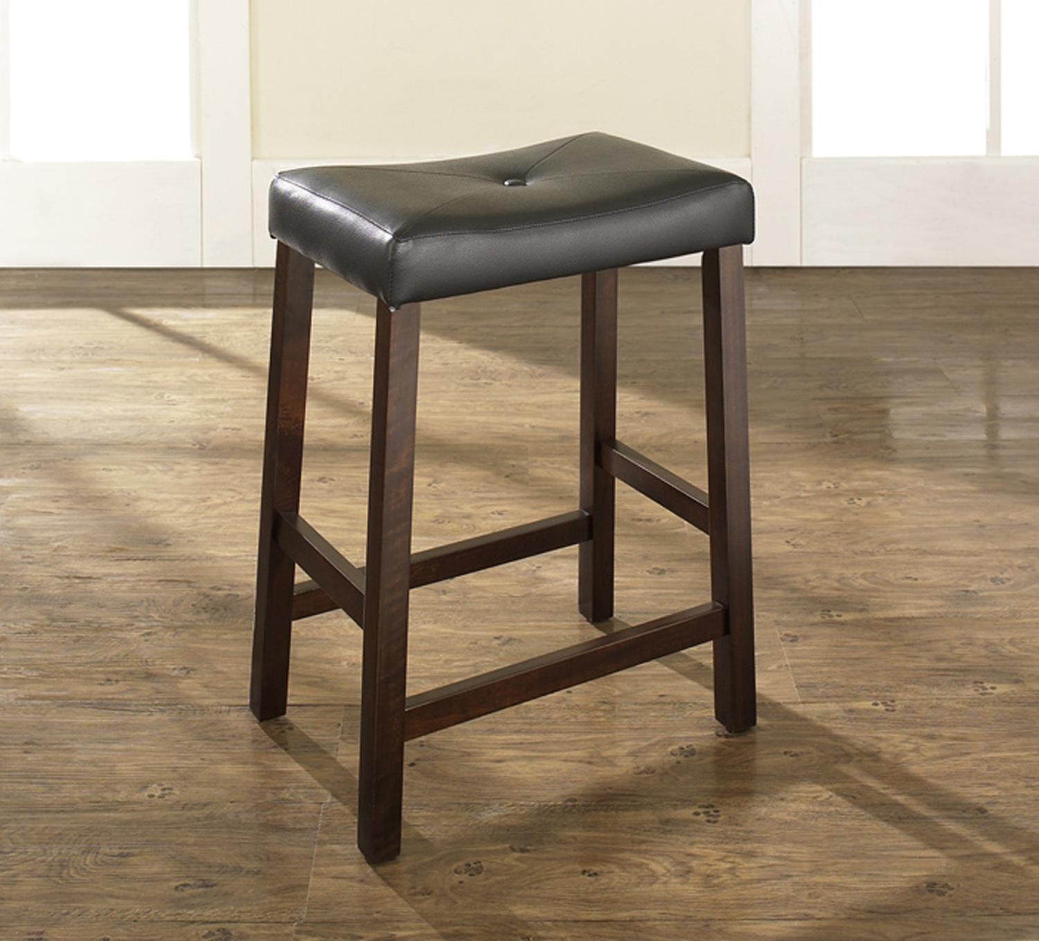 Upholstered saddle seat bar stool with 24 inch seat height for 24 inch bar stools