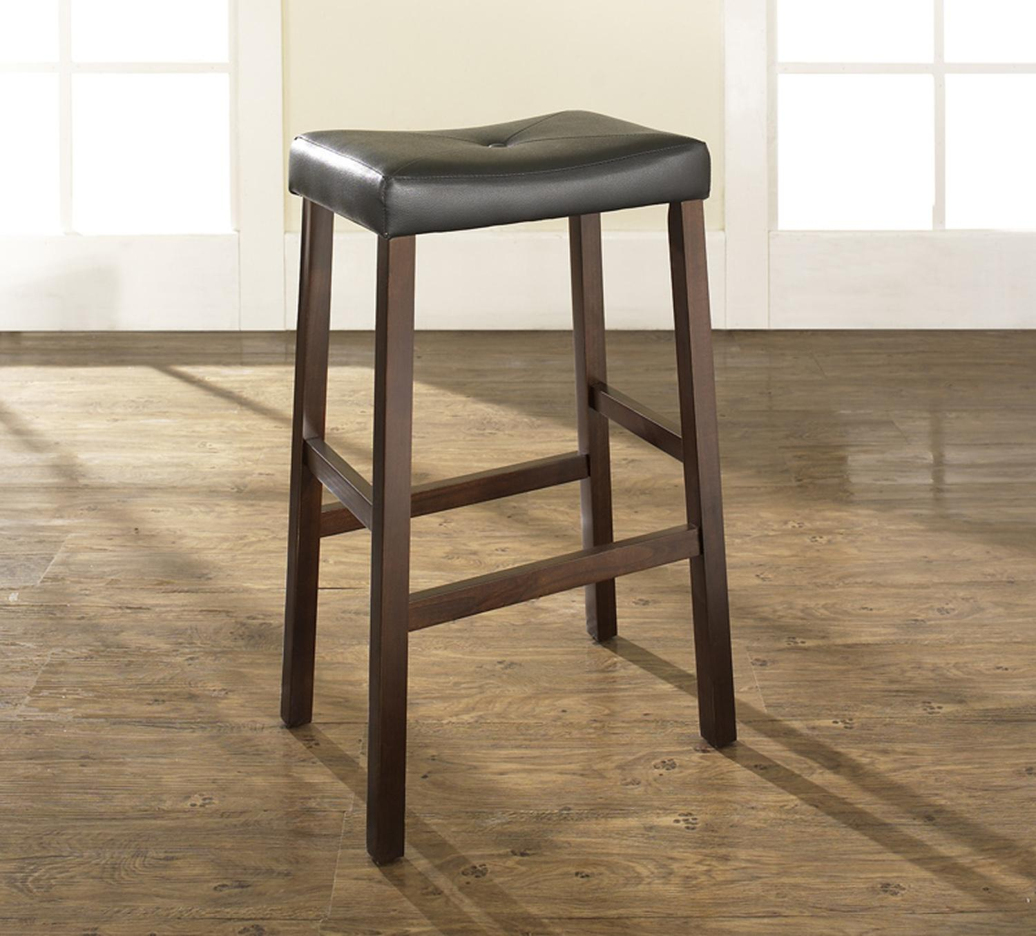 Upholstered Saddle Seat Bar Stool With 29 Inch Seat Height
