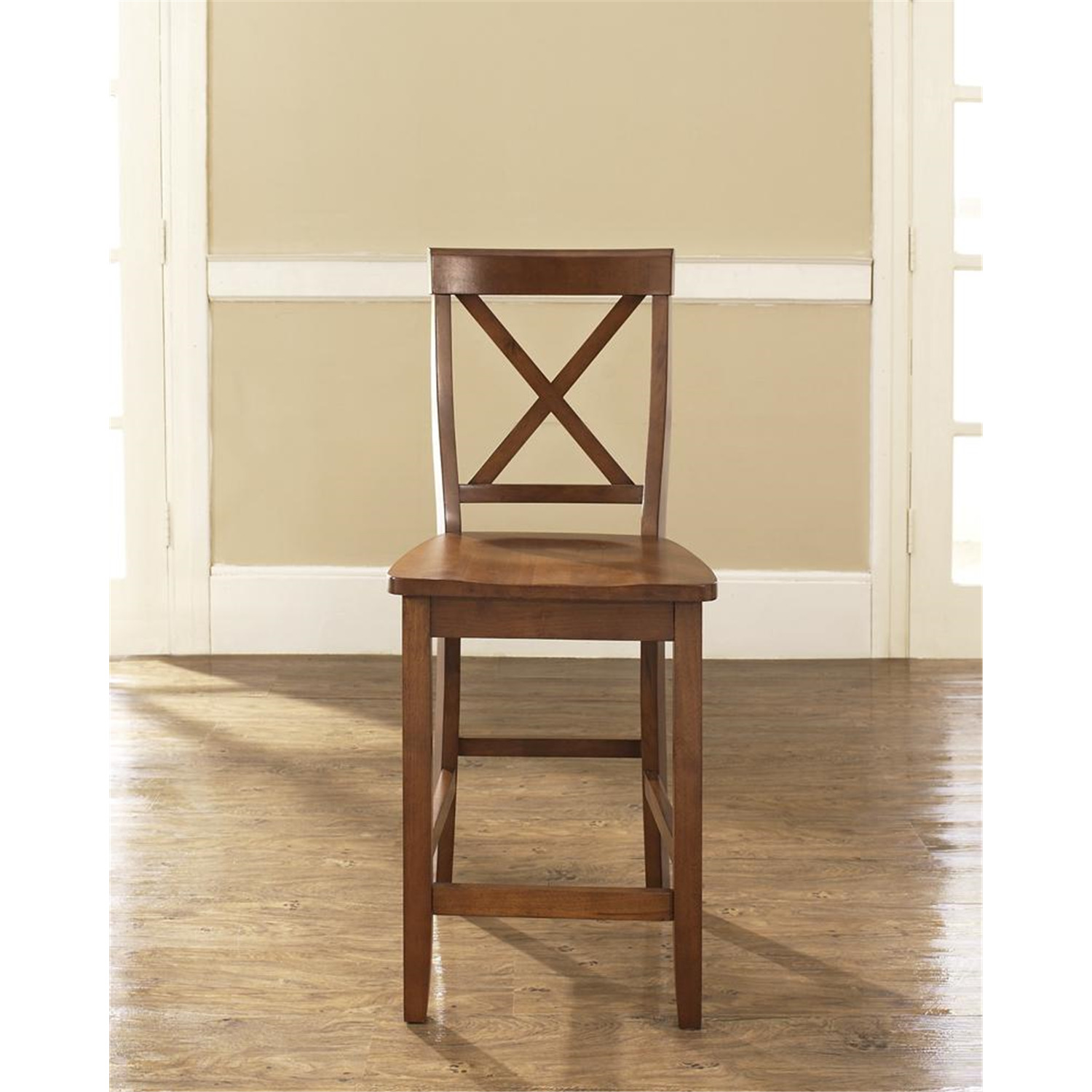 X Back Bar Stool With 24 Inch Seat Height Set Of Two