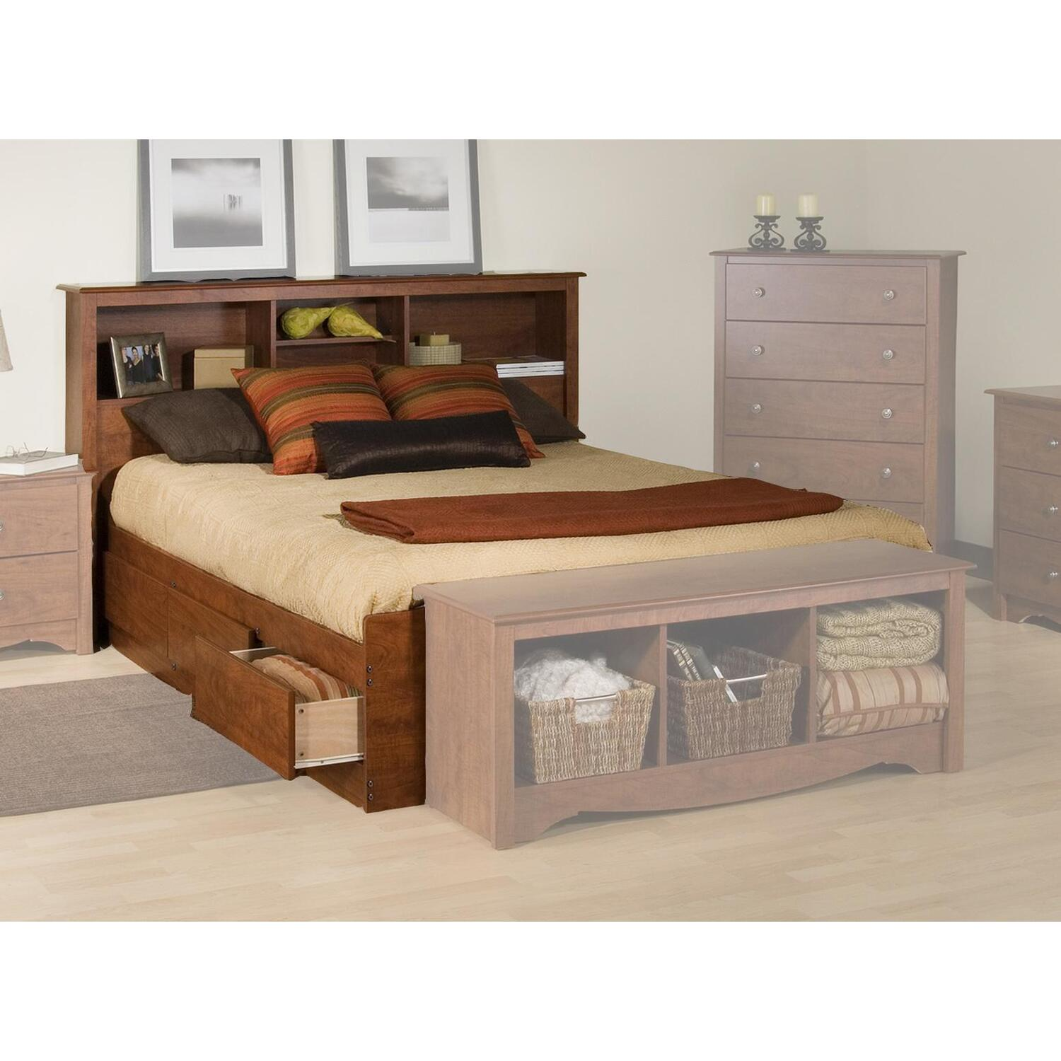 Prepac platform storage bed w bookcase headboard by oj for Bookshelf bed headboard