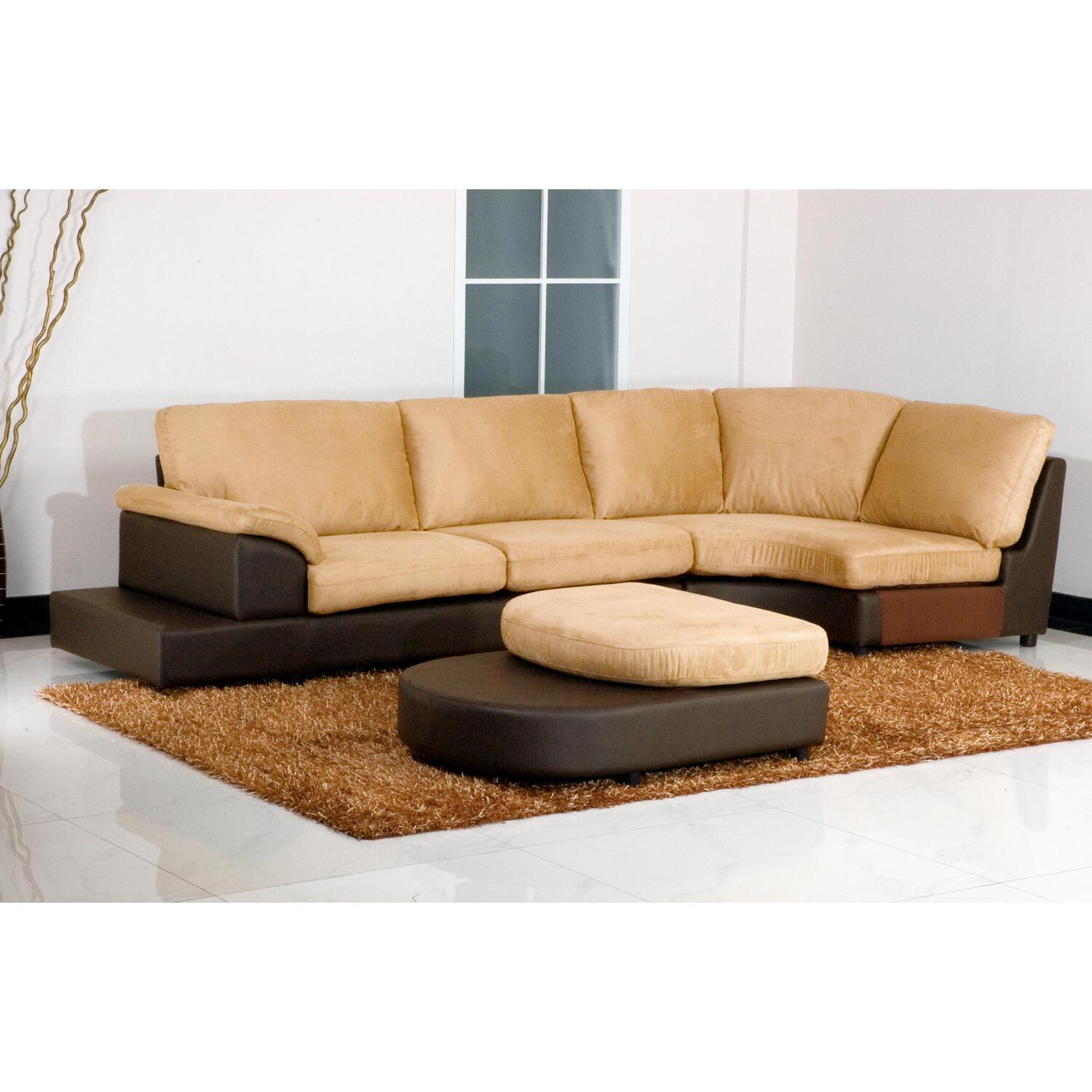 mocha microsuede sectional sofa with ottoman ojcommerce. Black Bedroom Furniture Sets. Home Design Ideas