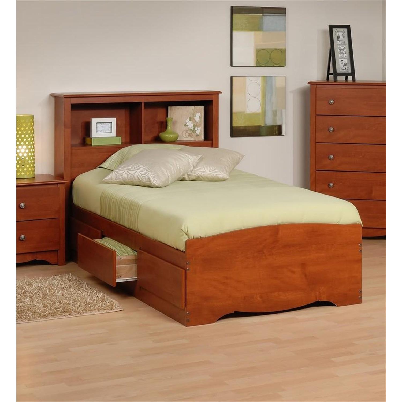 Prepac Platform Storage Bed W Bookcase Headboard By Oj Commerce Ctmb