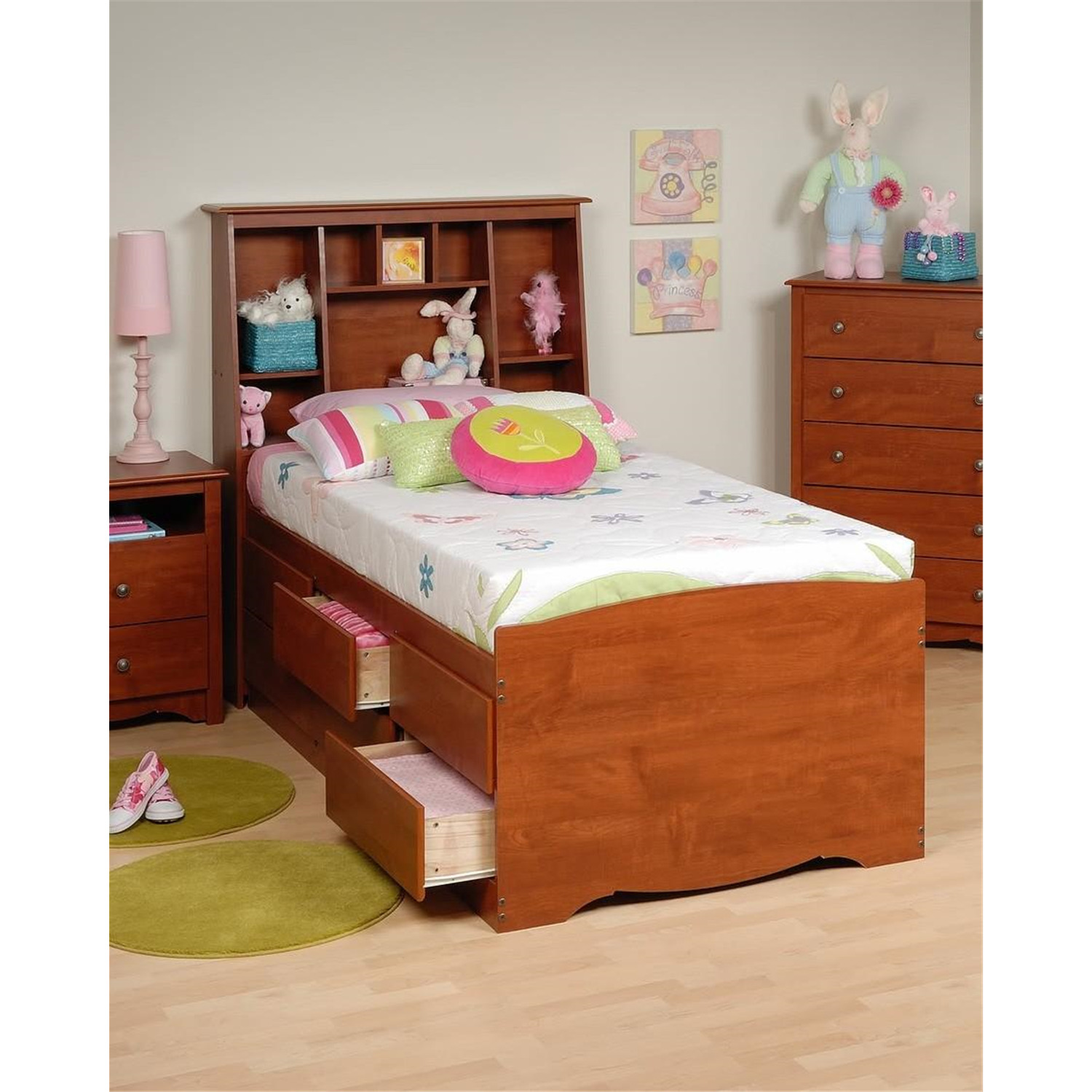 Prepac Tall Captain's Platform Storage Bed W/ Bookcase