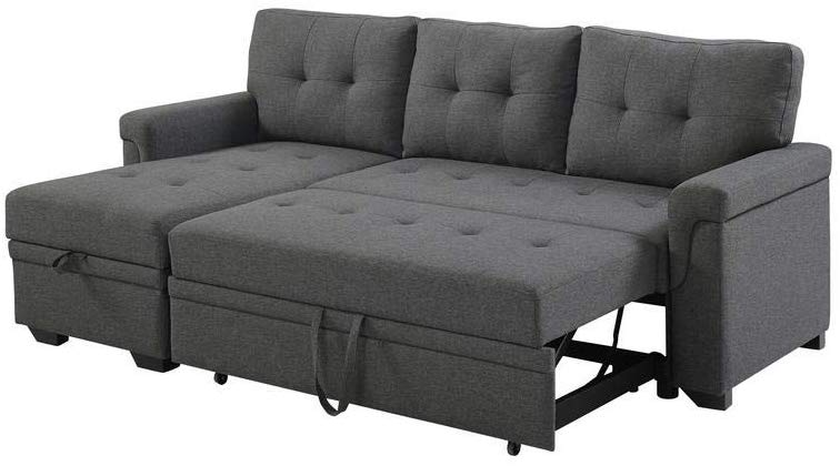 Lilola Home LILOLA Lucca Linen Reversible Sleeper Sectional Sofa, Steel Gray