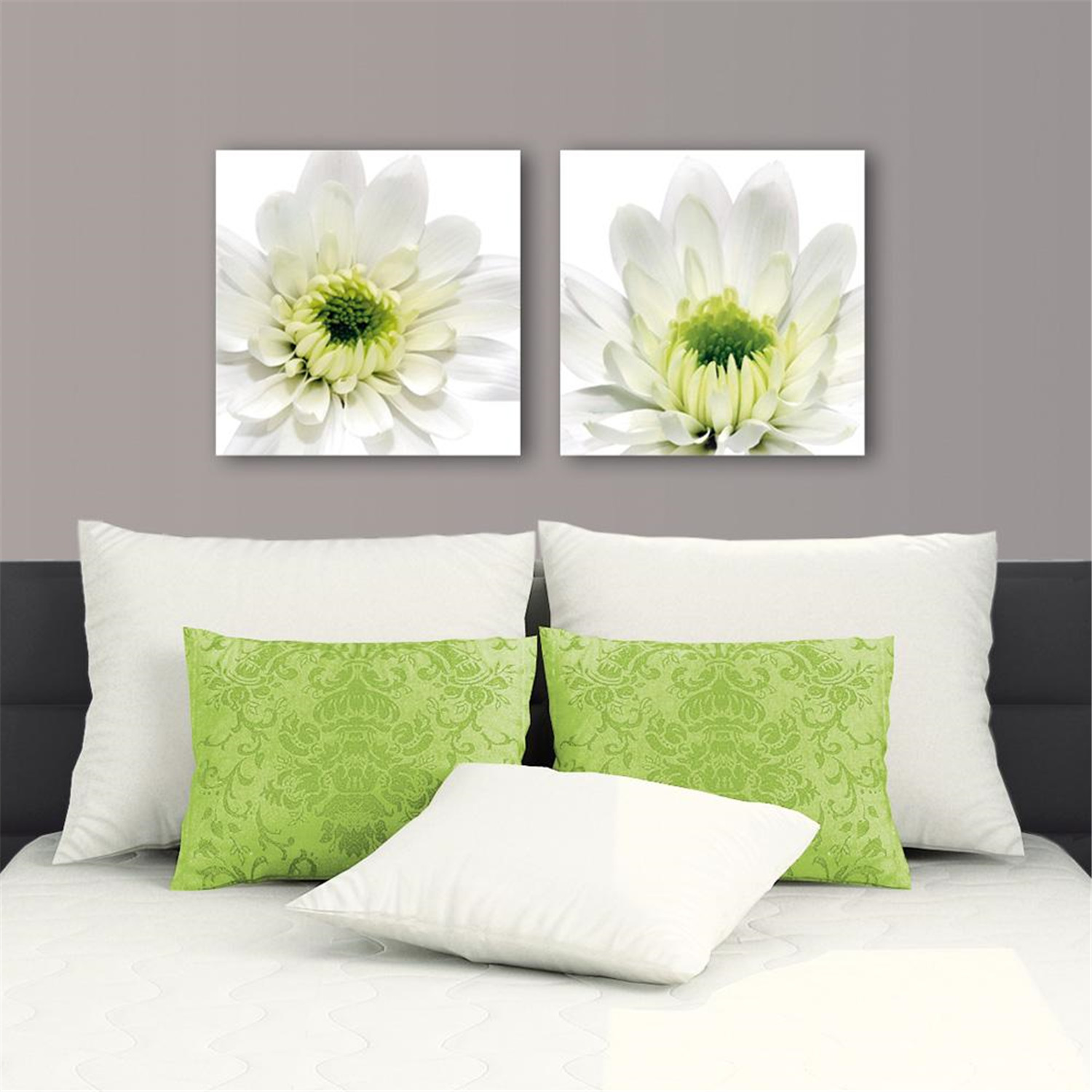 deco glass wall decor art on glass daisy set of 2 each. Black Bedroom Furniture Sets. Home Design Ideas