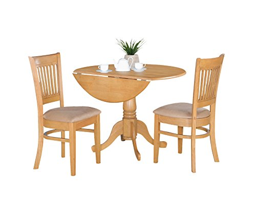 Small Kitchen Table Set - Drop Leaf Table And Dinette Chairs [Item # DLVA3-OAK-C]