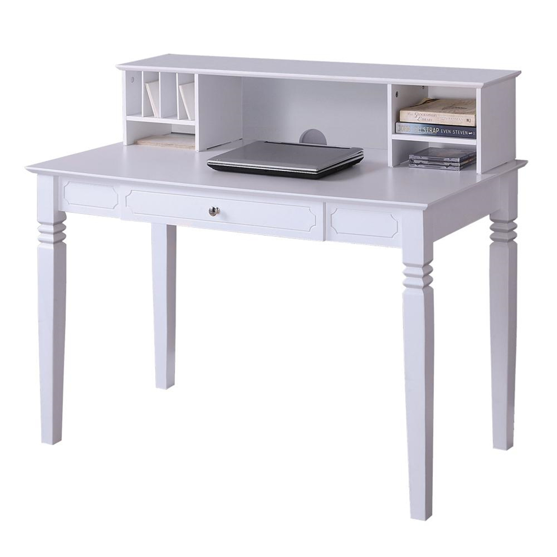 Walker Edison Elegant White Wood Desk with Hutch