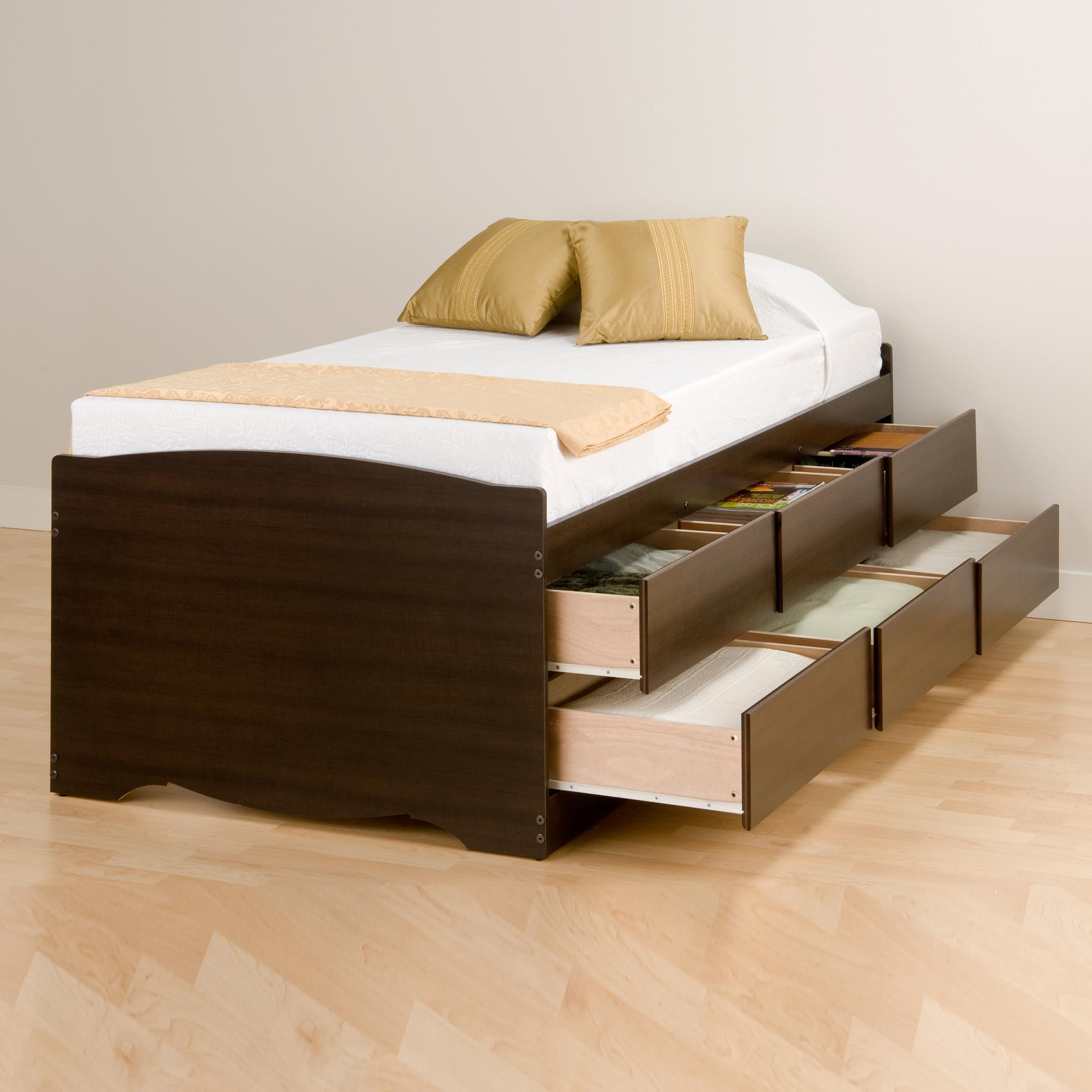 bed frame with storage drawers prepac 6 drawer platform storage bed by oj 18091