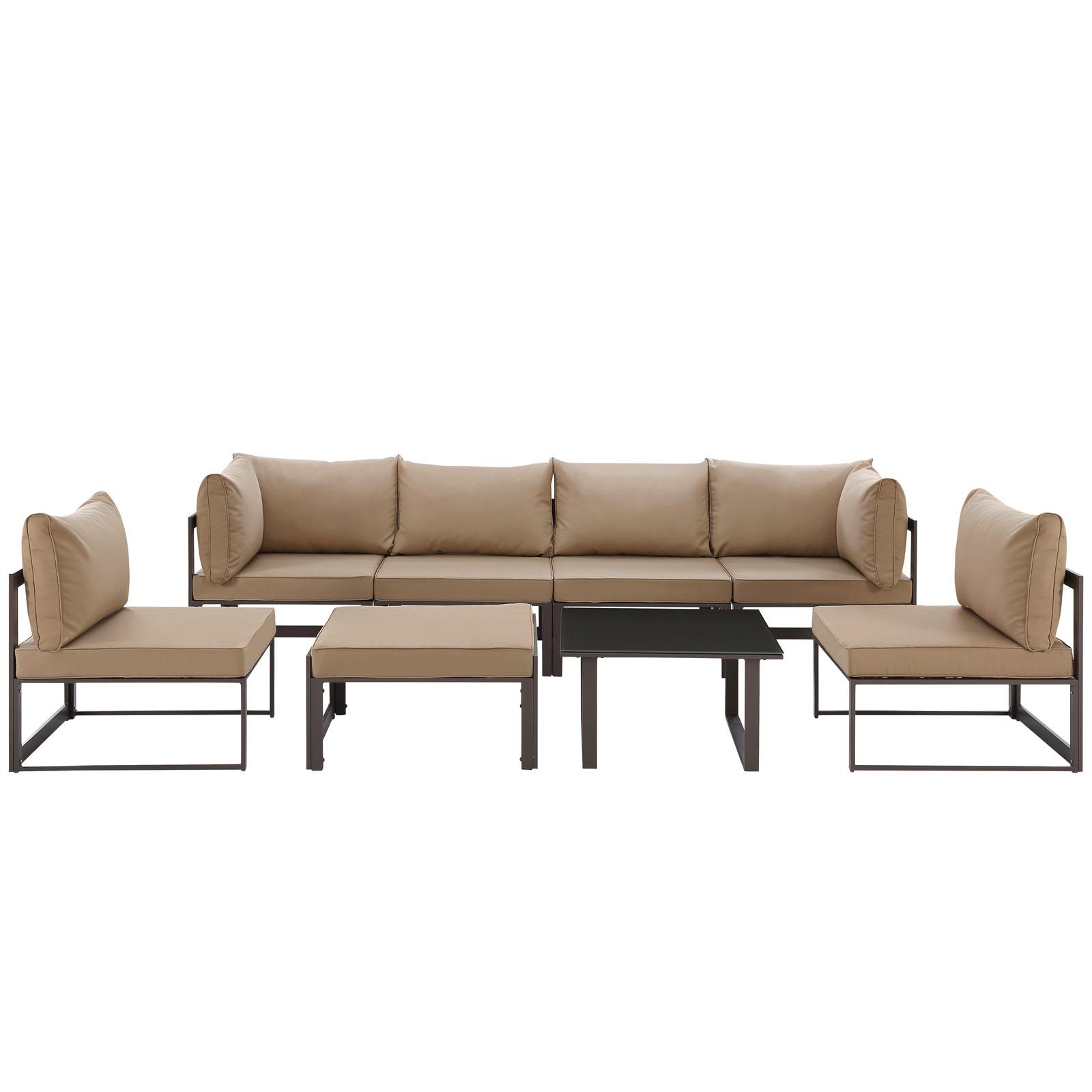 Lexmod Fortuna 8 Piece Outdoor Patio Sectional Sofa Set by OJ