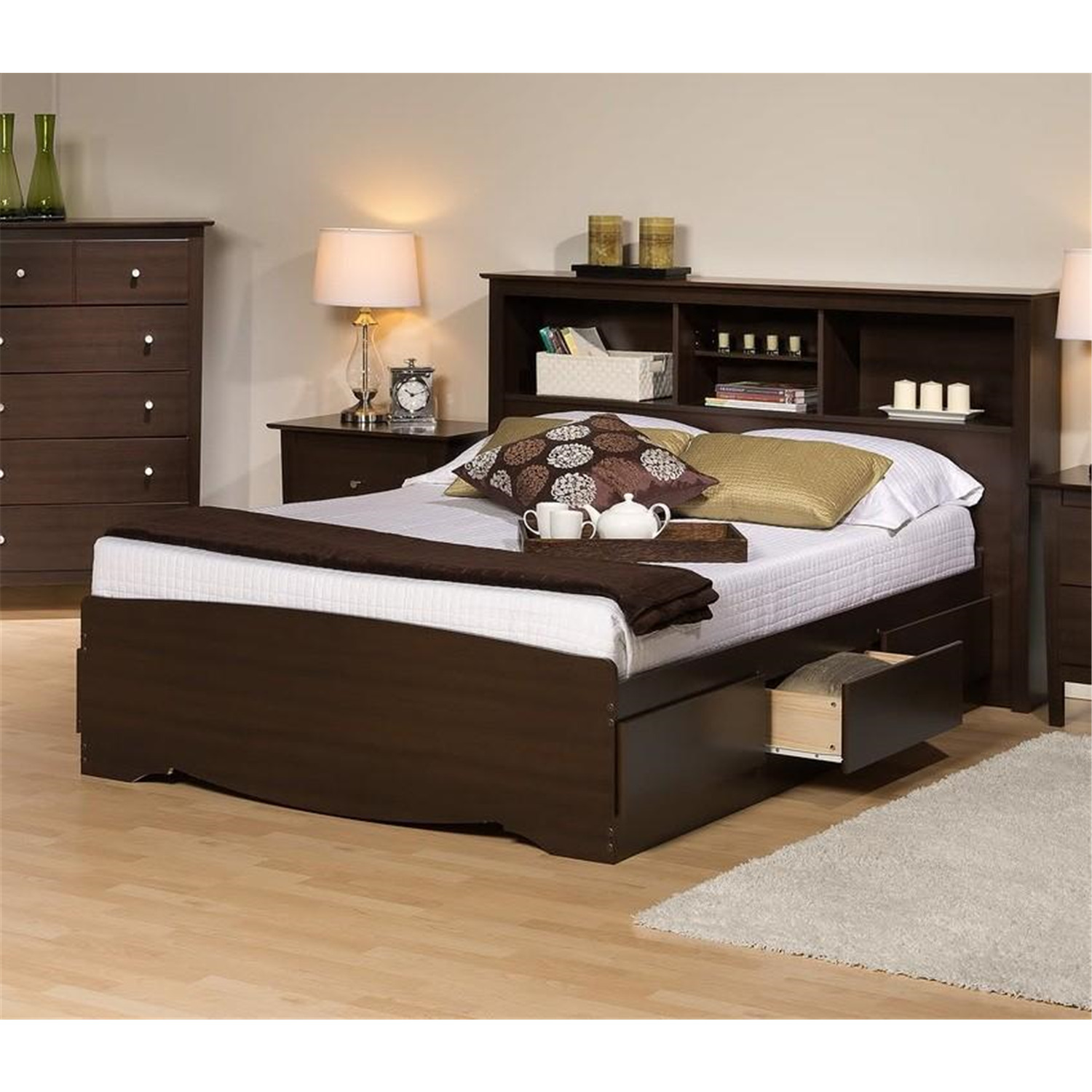 Platform storage bed w bookcase headboard ojcommerce for Bookshelf bed headboard