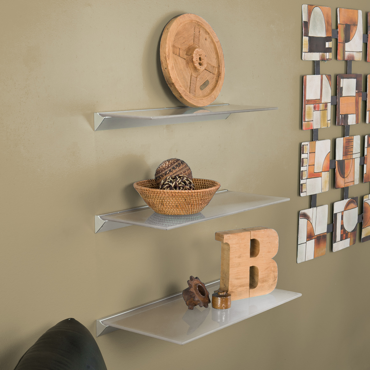 Southern Enterprises Frosted Floating Glass Shelf 24 in.