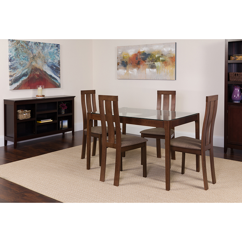 Magnificent Flash Furniture Gridley 5 Piece Espresso Wood Dining Table Set With Glass Top And Vertical Wide Slat Back Wood Dining Chairs Padded Seats Frankydiablos Diy Chair Ideas Frankydiabloscom
