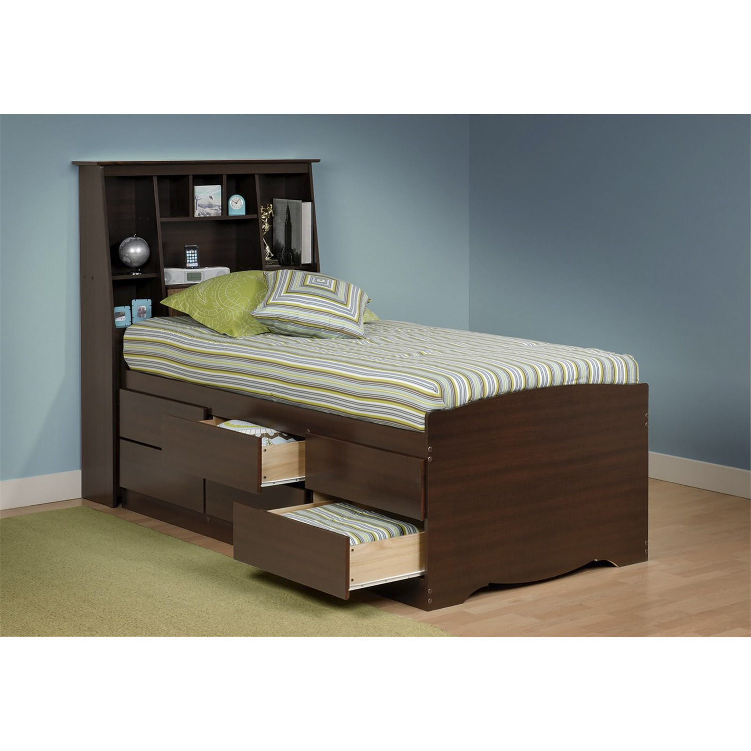 Tall captain 39 s platform storage bed w bookcase headboard for Big w bedroom storage