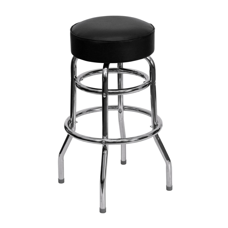 Set Of 4 Metal Black Swivel Vinyl Seat Pub Bar Stools: Double Ring Chrome Bar Stool With Black Vinyl Swivel Seat