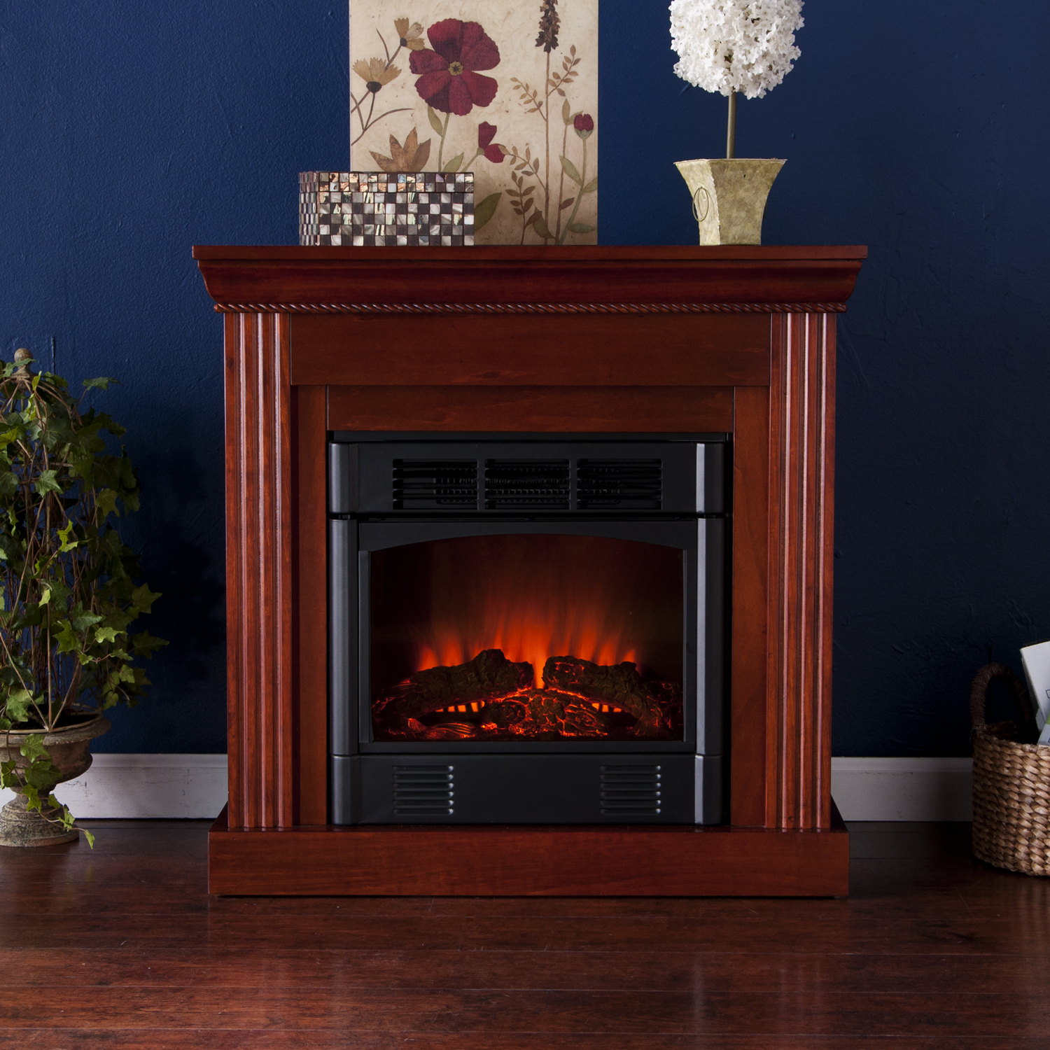 Southern Enterprises Wexford Petite Convertible Fireplace Mahogany Electric