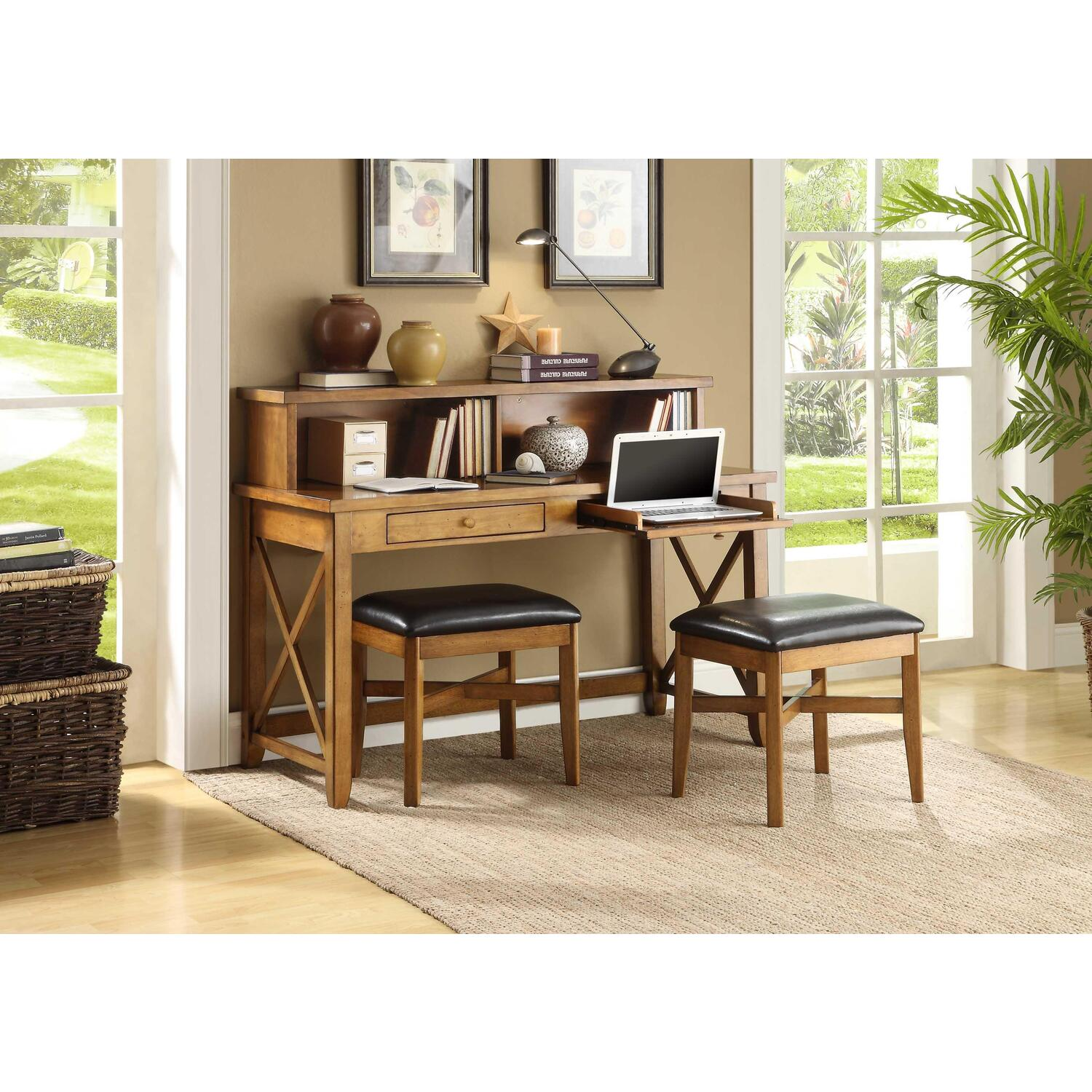 Fairport 54 Writing Desk Hutch With 2 Stools