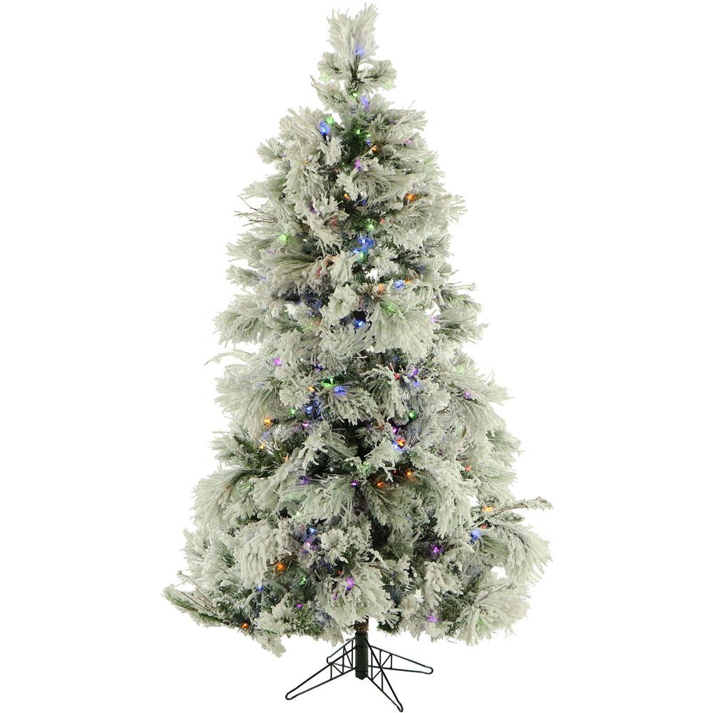 Fraser Hill FFSN012-6SN 12 Ft. Flocked Snowy Pine Christmas Tree ...