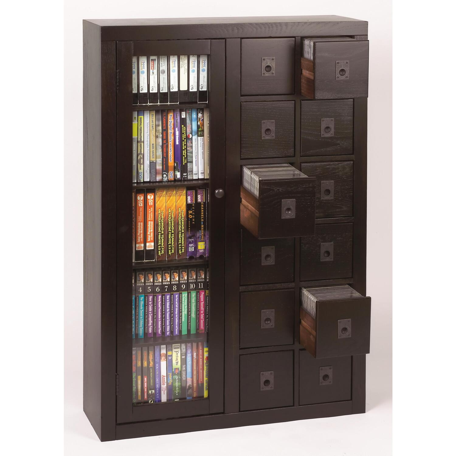 Leslie Dame Librarians Glass Door Multimedia Cabinet 33995