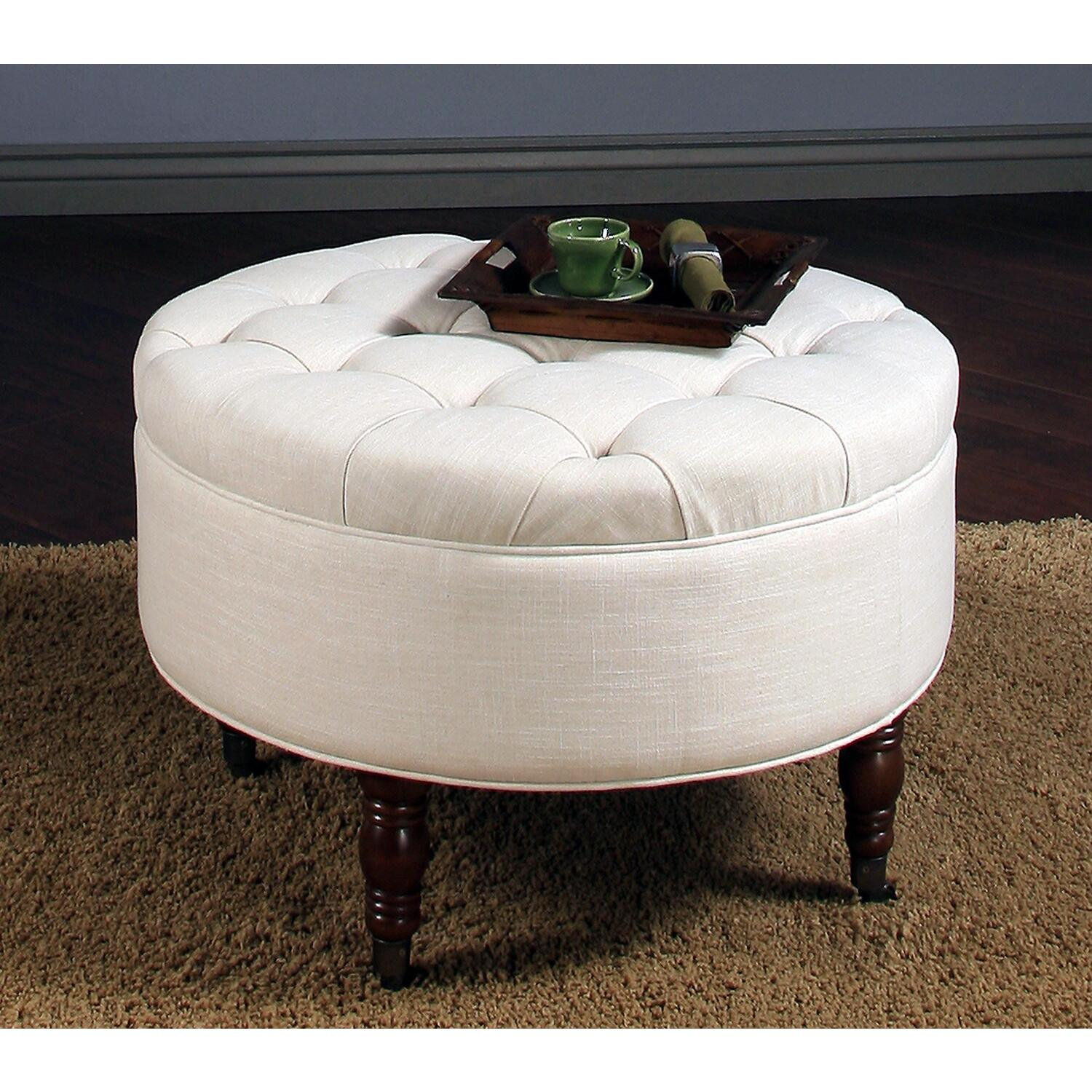Arence Round Flip Top Tufted Ottoman Ojcommerce