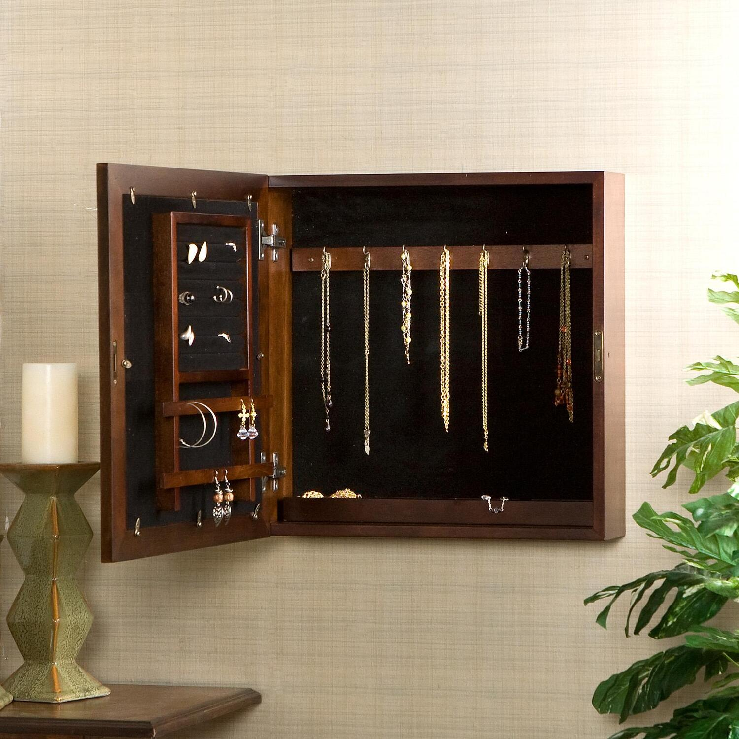 wall mounted jewelry cabinet southern enterprises square wall mount jewelry armoire 28097
