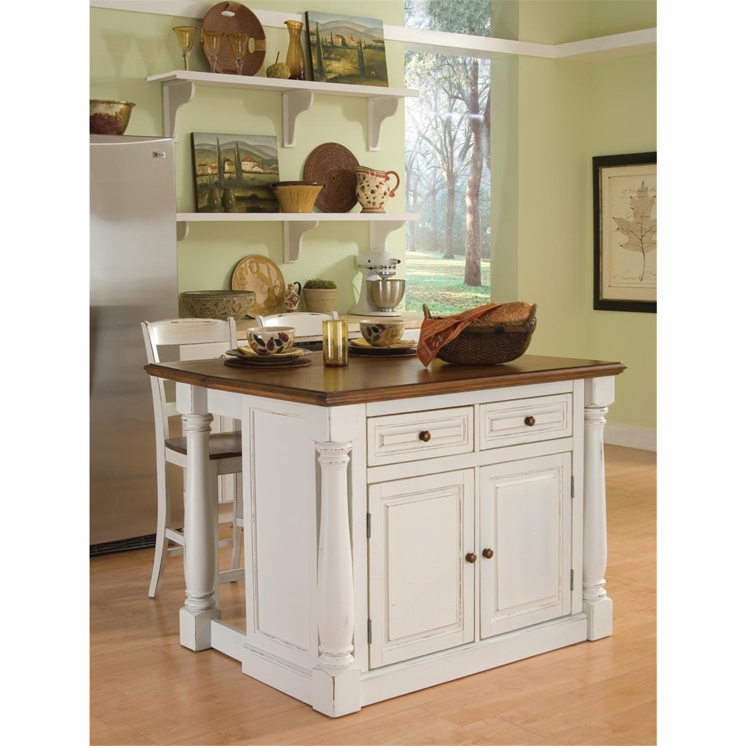 Monarch Antiqued White Kitchen Island Two Stools From