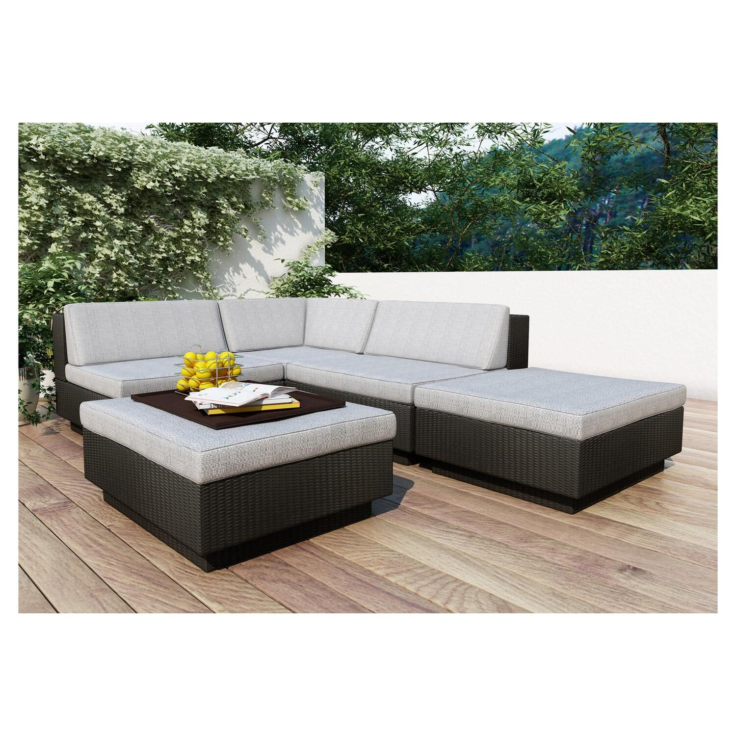 Park Terrace Textured Black 5 Piece Sectional Patio Set