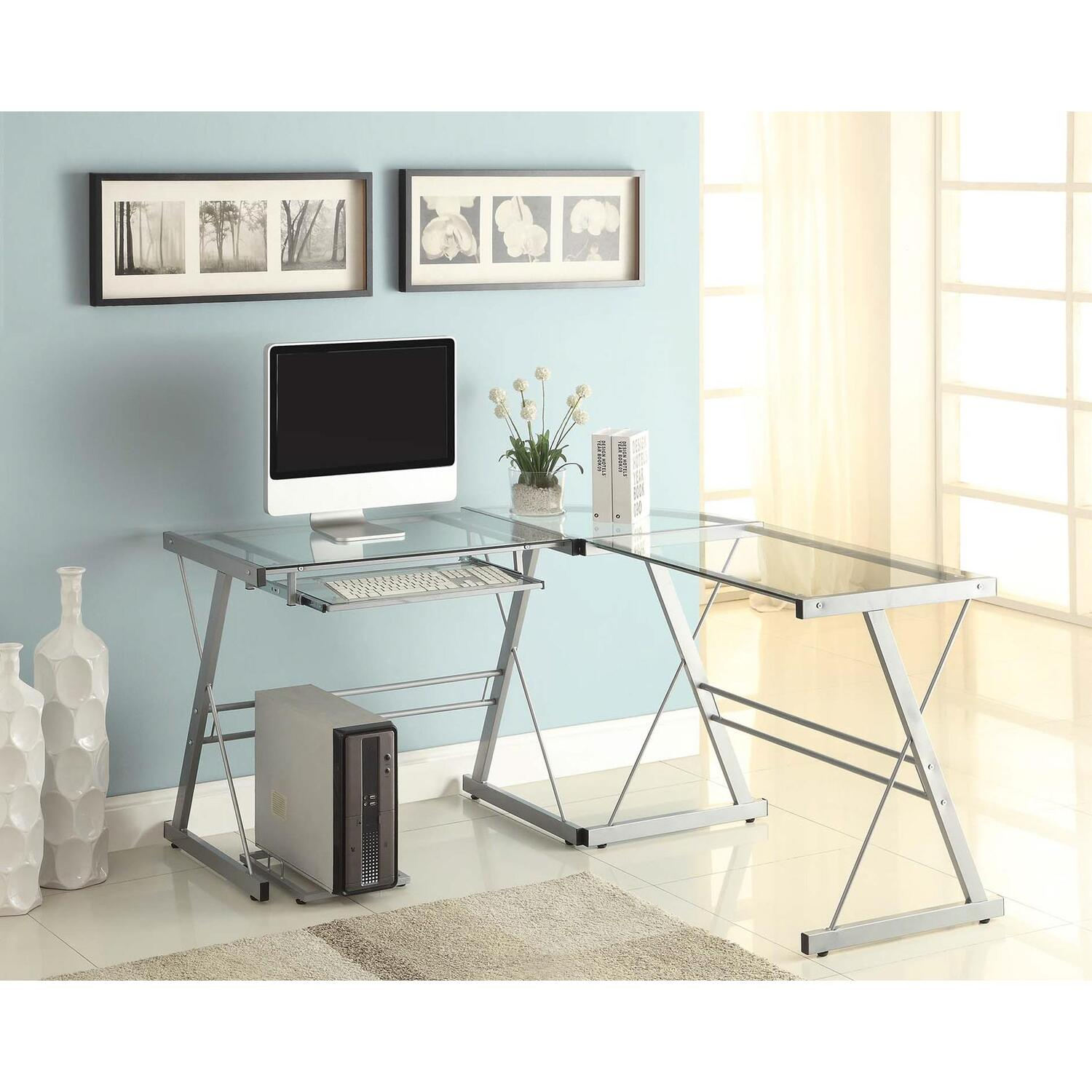 naomi home 55111 naomi home 3 piece sedalia glass office desk
