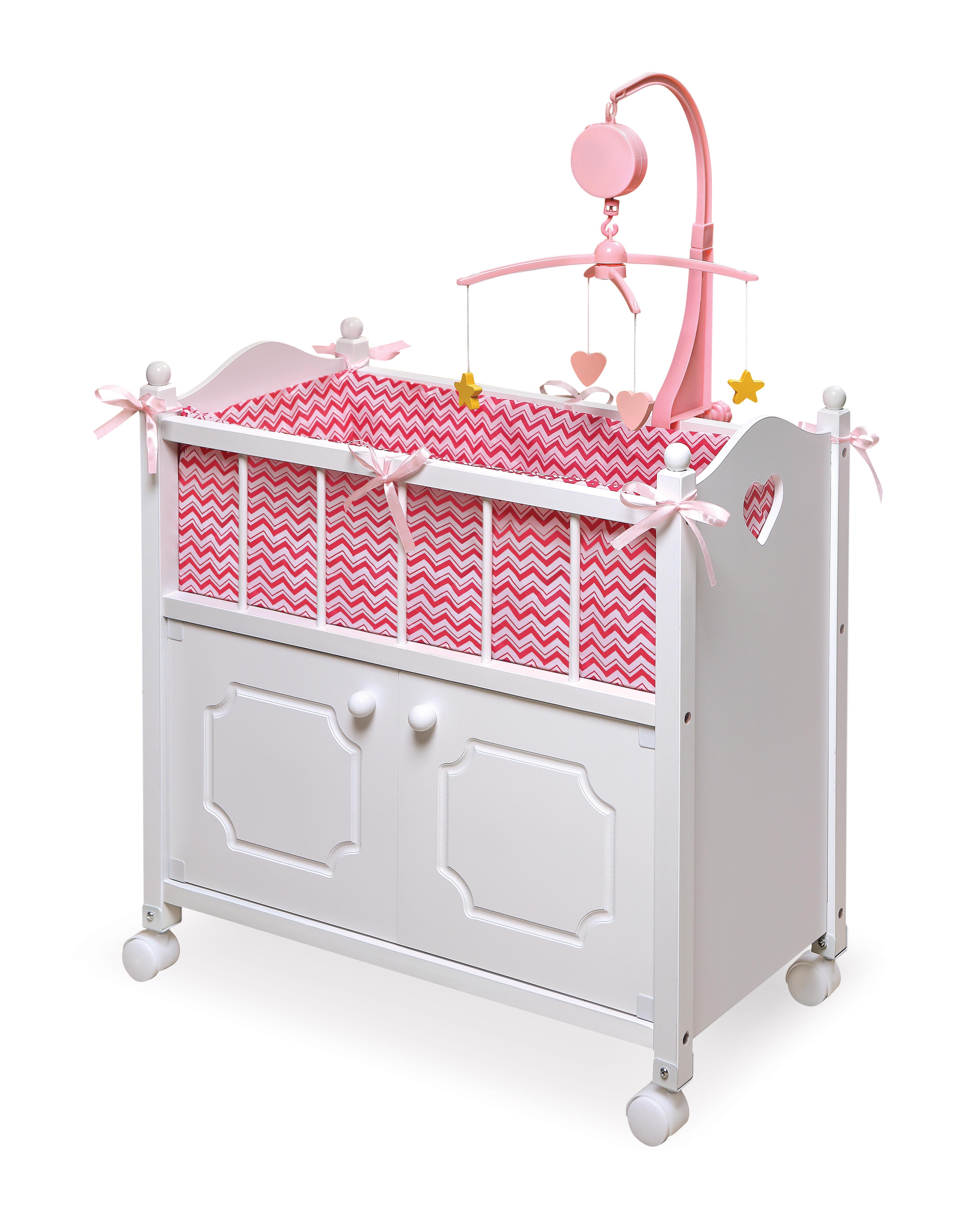 Lovely Doll Crib With Cabinet, Bedding, U0026 Mobile   Chevron Print   [17291]