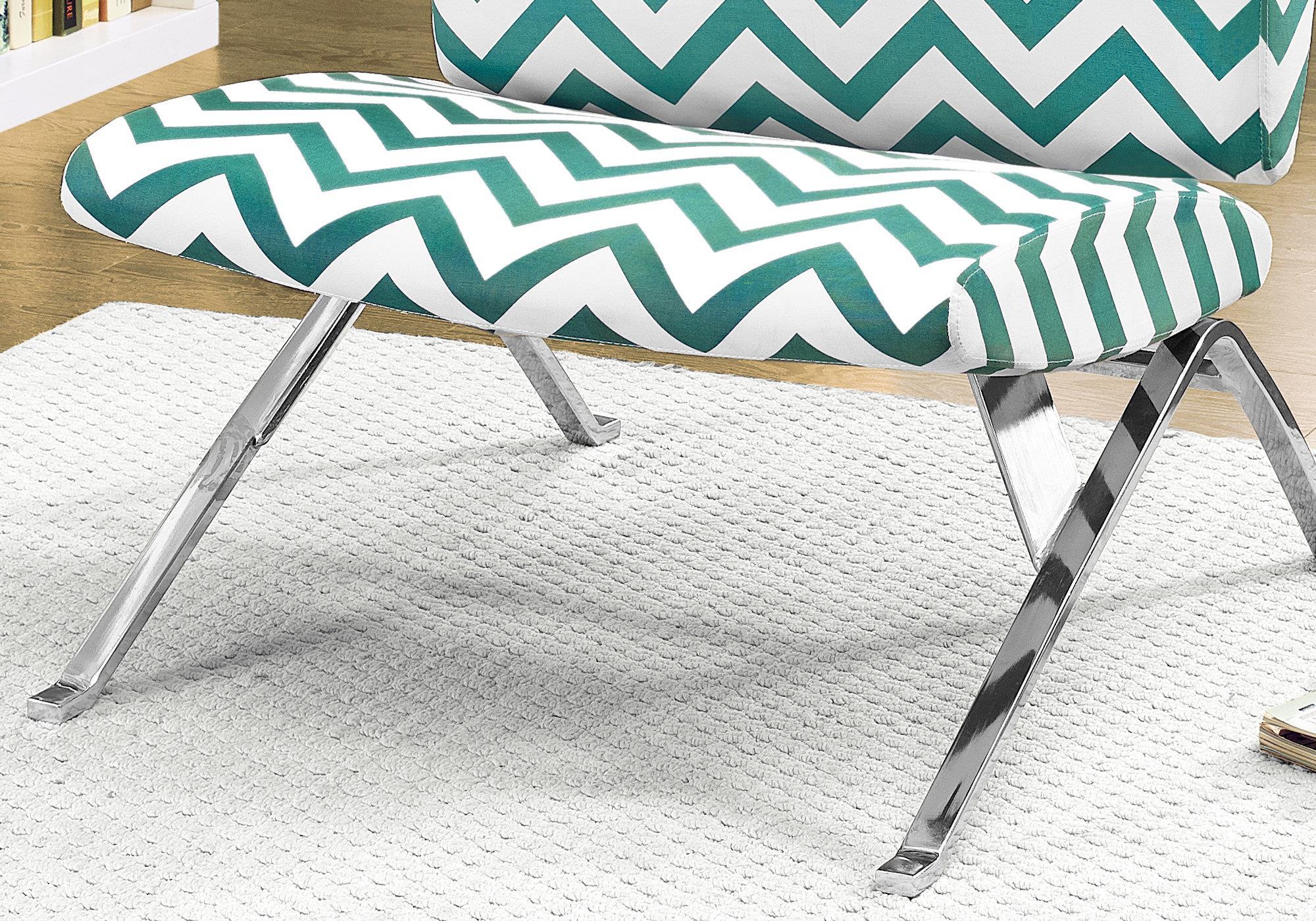 Enjoyable Monarch Specialties Accent Chair Fabric Chrome Metal Teal Inzonedesignstudio Interior Chair Design Inzonedesignstudiocom