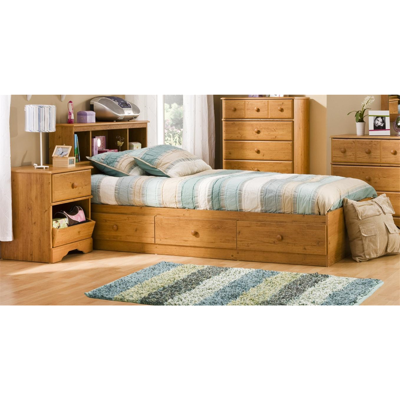 Kids Twin Wood Captain S Bed 3 Piece Bedroom Set In