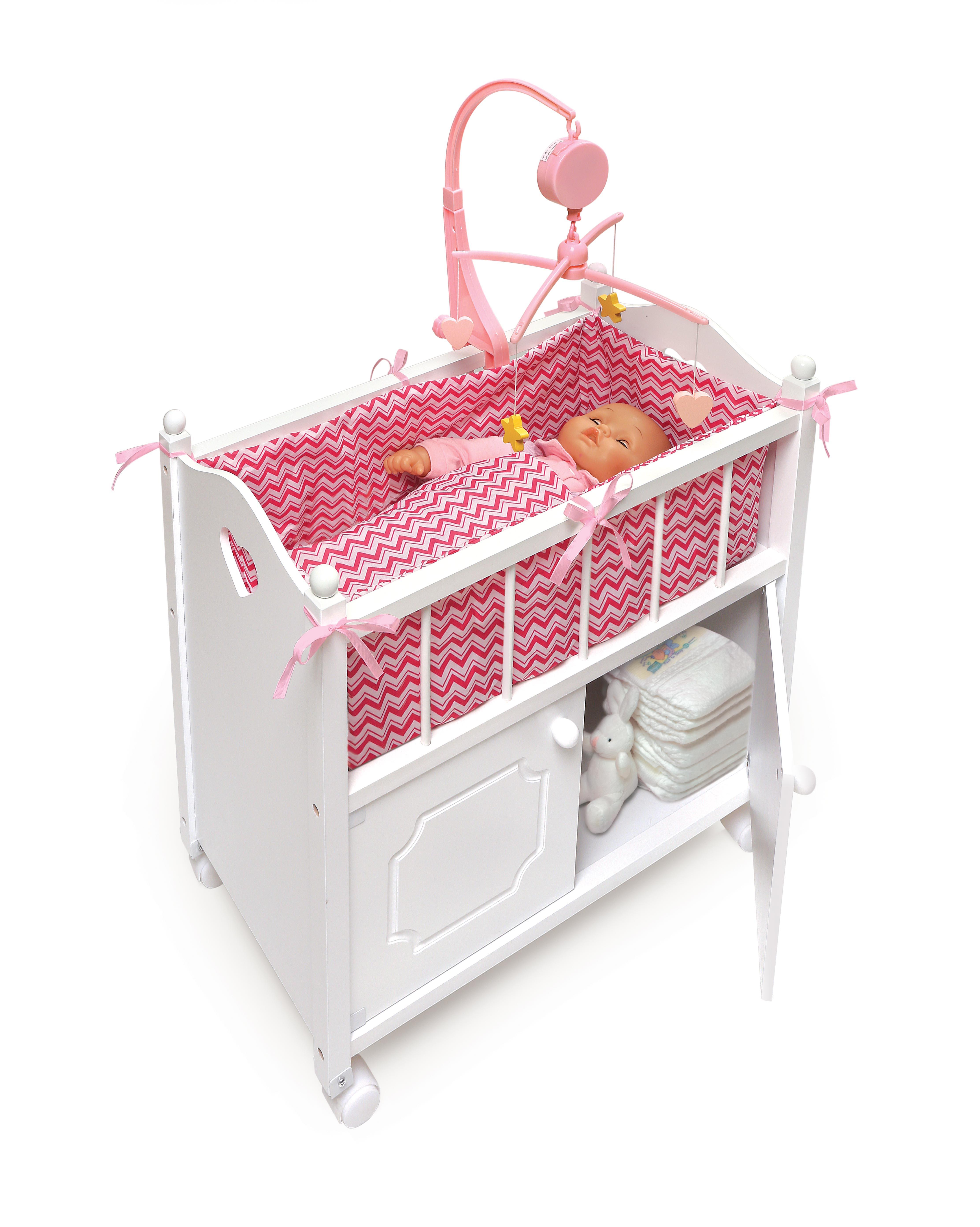 Doll Crib With Cabinet Bedding Amp Mobile Chevron Print