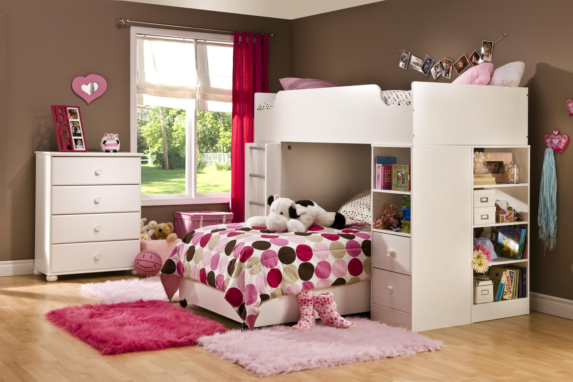 Twin loft bed with desk white - Logik Twin Loft Bed System Pure White