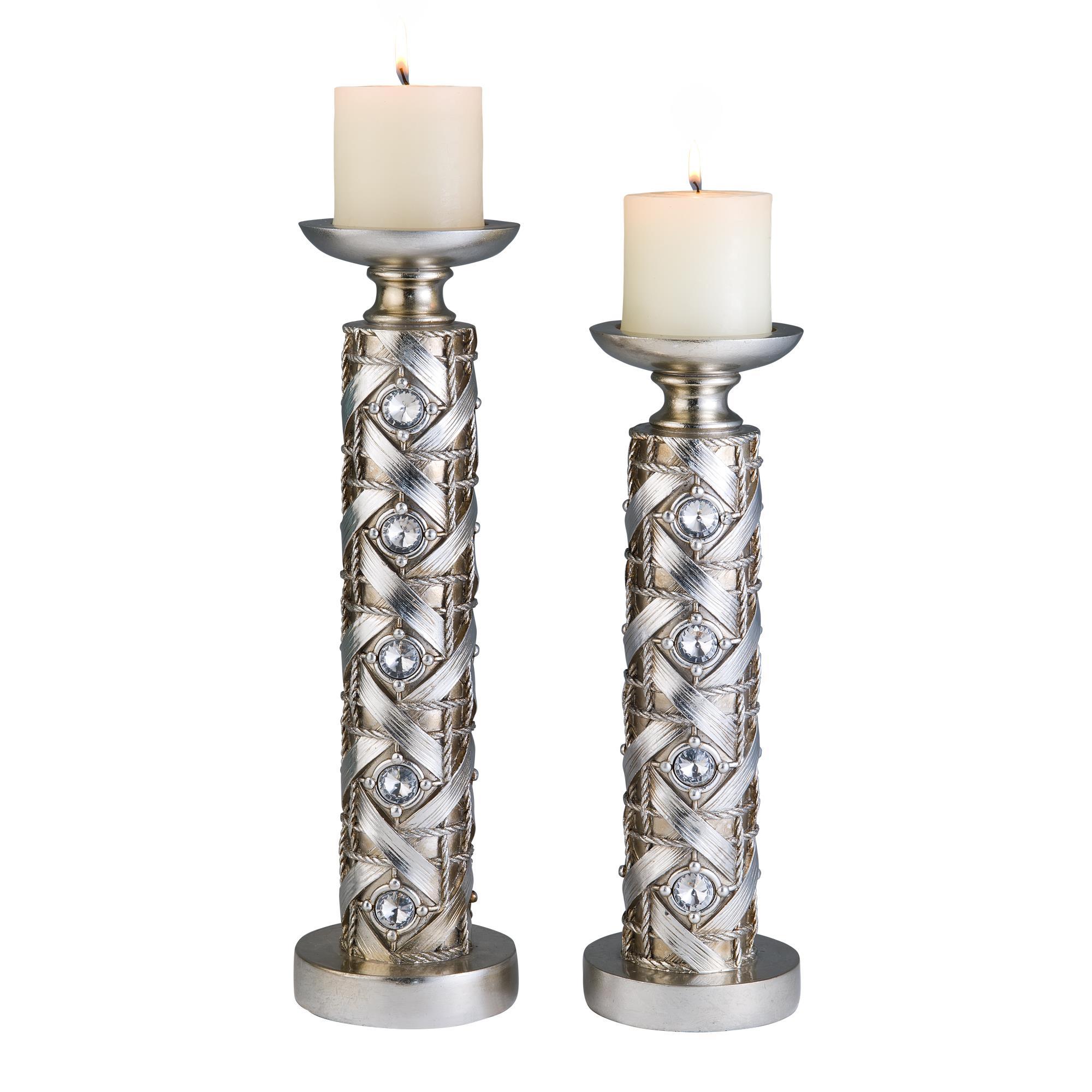 16 Inch Silver Dazzle Candle Holder Set Ojcommerce